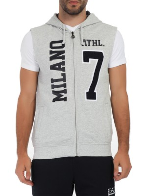 Толстовка мужская без рукавов Train Milan Varsity Full Zip Sweatshirt EA7 Emporio Armani