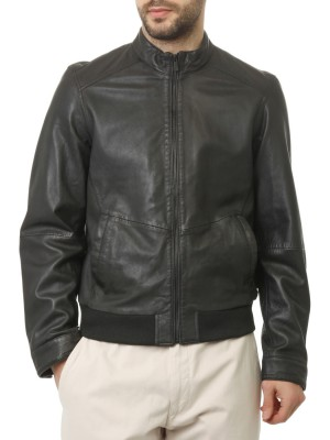 Куртка мужская кожаная Bomber Jkt Slim Fit TRUSSARDI JEANS