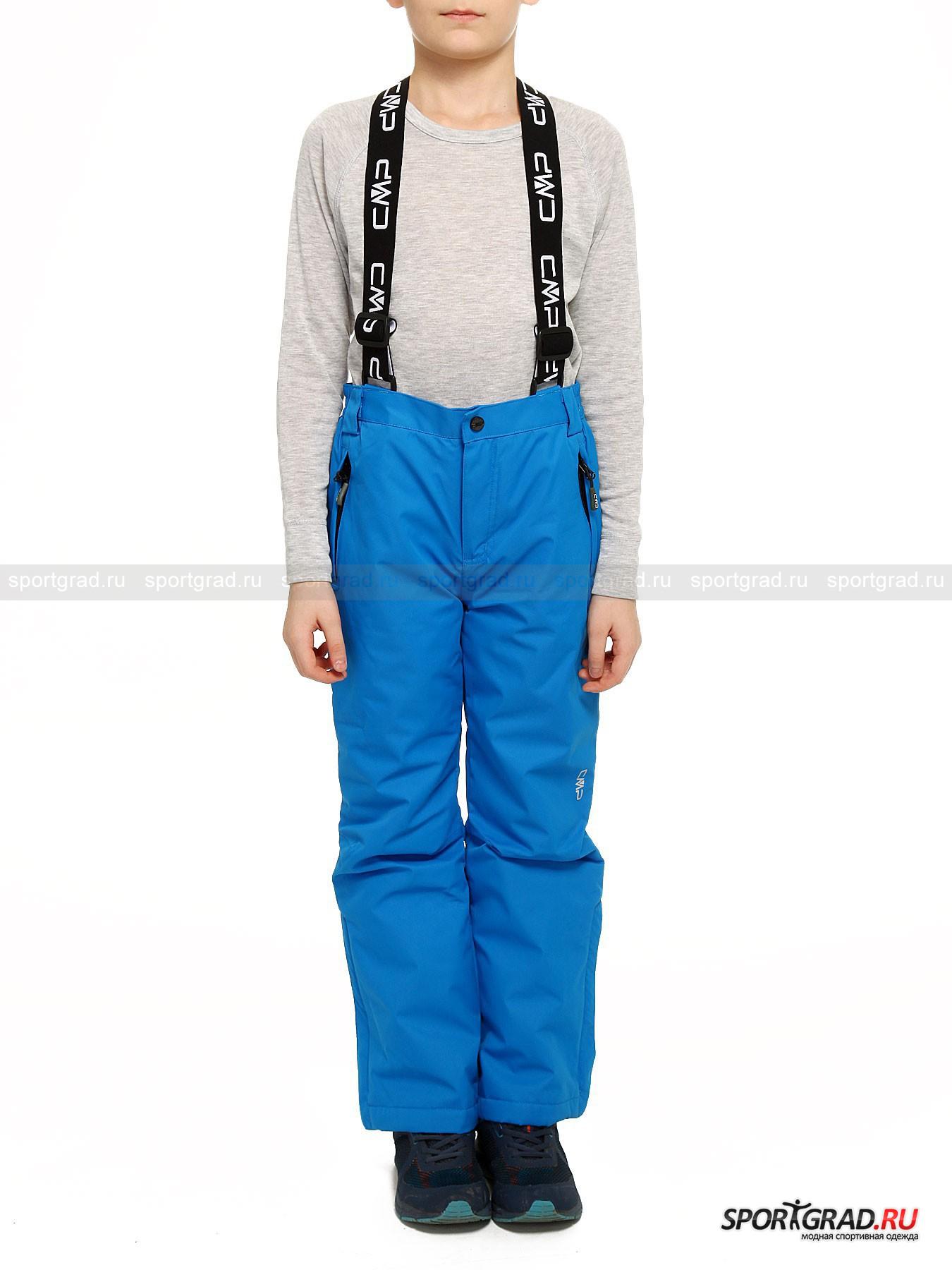 Брюки детские горнолыжные CAMPAGNOLO на подтяжкахБрюки<br>Детские брюки CAMPAGNOLO понравятся как детям, так и их родителям. Модель имеет универсальный дизайн,  делающий ее пригодной не только для лыжного спорта, но и  просто для городской прогулки морозным зимним деньком. При пошиве этих брюк была применена специальная технология под названием CLIMAPROTECT, благодаря которой ткань превосходно пропускает воздух, при этом защищая от холода и ветра.<br><br>Изделие имеет:<br>- проклеенные швы, не позволяющие влаге от тающего снега просочиться внутрь;<br>- спинку на мягкой подкладке;<br>- широкие удобные эластичные лямки, длина которых регулируется при помощи пряжек;<br>- притачной пояс, собранный по бокам на резинку для лучшей посадки;<br> - шлевки, в которые при необходимости можно продеть ремень;<br>- центральный разрез на молнию, дополненный застежкой на металлическую пуговицу-петлю и потайную кнопку;<br> -  закрывающиеся на молнию боковые прорезные карманы с листочками; <br>- вытачки в районе коленей, обеспечивающие большую свободу движений; <br>- молнии и металлические кнопки, при помощи которых брючины застегиваются внизу; <br> - вшитые снежные гетры на резинке, благодаря которым снег не попадет внутрь.<br><br>Возраст: Детский<br>Тип: Брюки<br>Рекомендации по уходу: Для изделия рекомендована деликатная стирка в теплой воде, сушка при низкой температуре. Нельзя отбеливать, гладить, подвергать химчистке.<br>Состав: 100% полиэстер