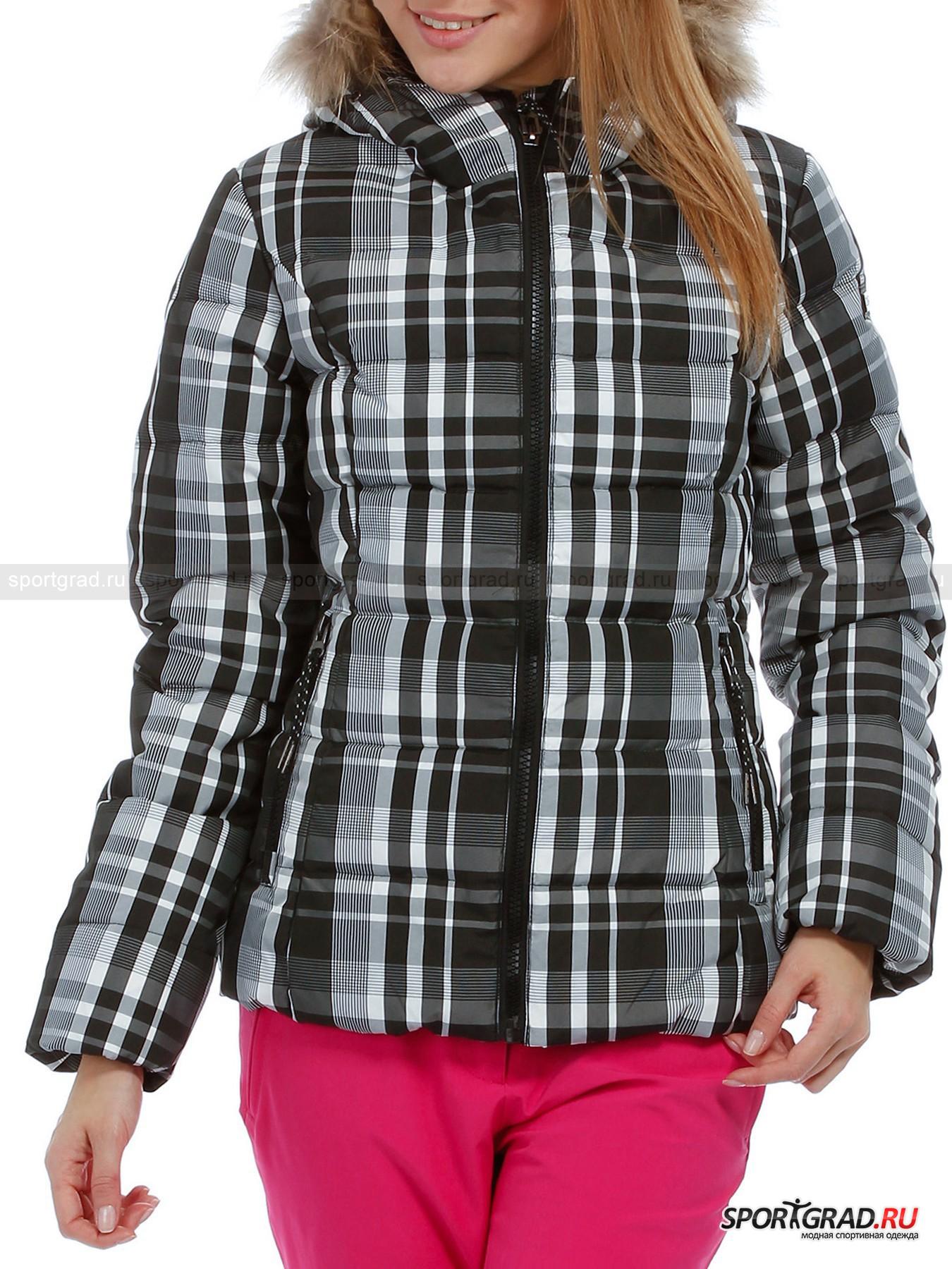 Куртка женская LADY FIX HOOD JACKET CAMPAGNOLOПуховики<br>Городская женская куртка LADY FIX HOOD JACKET CAMPAGNOLO в клетку – прекрасная повседневная модель, идеально подходящая для зимы: во-первых, она очень теплая, поскольку натуральный пух, надежно зафиксированный частой прошивкой, является одним из лучших утеплителей, во-вторых, стильная и модная, в-третьих, не требующая специального ухода, в-четвертых, изумительно скроенная, а потому прекрасно сидящая на теле и не сковывающая движений.<br>Модель имеет:<br>- высокий воротник-стойку, бережно закрывающий шею от ветра и переходящий в капюшон с отстегивающейся меховой оторочкой и кулиской по краю,<br>- вертикальные рельефы, обеспечивающее комфортное прилегание спереди и сзади,<br>- втачные рукава с резинкой по нижнему краю и нашивкой с эмблемой марки слева,<br>- основную молнию с планкой с подкладочной стороны,<br>- карманы:<br>а) прорезной нагрудный карман на молнии с изнаночной стороны,<br>б) два боковых прорезных кармана на крупных застежках.<br>Эта куртка легко найдет себе достойную пару в вашем гардеробе, поскольку сочетается и с джинсами и с брюками в спортивном стиле.<br><br>Пол: Женский<br>Возраст: Взрослый<br>Тип: Пуховики<br>Состав: Поверхность: 100% Пэ.