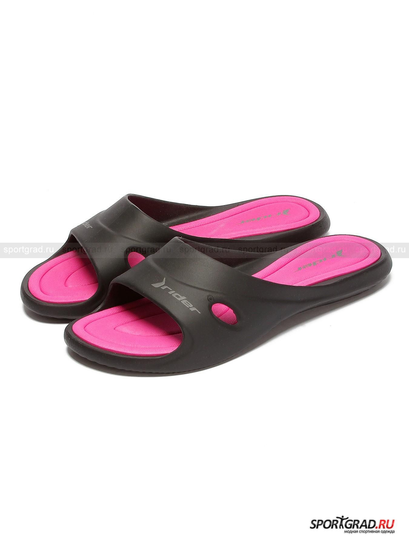 Шлепанцы женские пляжные Slide feet III fem RIDER с эргономичной подошвойСланцы<br>Бесподобно-удобные женские шлепанцы Slide feet III fem RIDER – пляжная обувь, в которой и нога проскальзывать не будет благодаря рельефному рисунку «стельки», подушечки которой формируют амортизационную платформу, и потеть не станет – верхняя часть модели имеет по бокам вентиляционные овальные вырезы. Эргономичную подметку отличает гибкая фактура и надежно сцепляющий с поверхностью протектор.<br><br>Максимальная высота подошвы 2 см (размер 37).<br><br>Пол: Женский<br>Возраст: Взрослый<br>Тип: Сланцы<br>Рекомендации по уходу: Изделию противопоказано подвешивание на бельевую веревку и сушка под прямыми солнечными  лучами.<br>Состав: синтетические материалы
