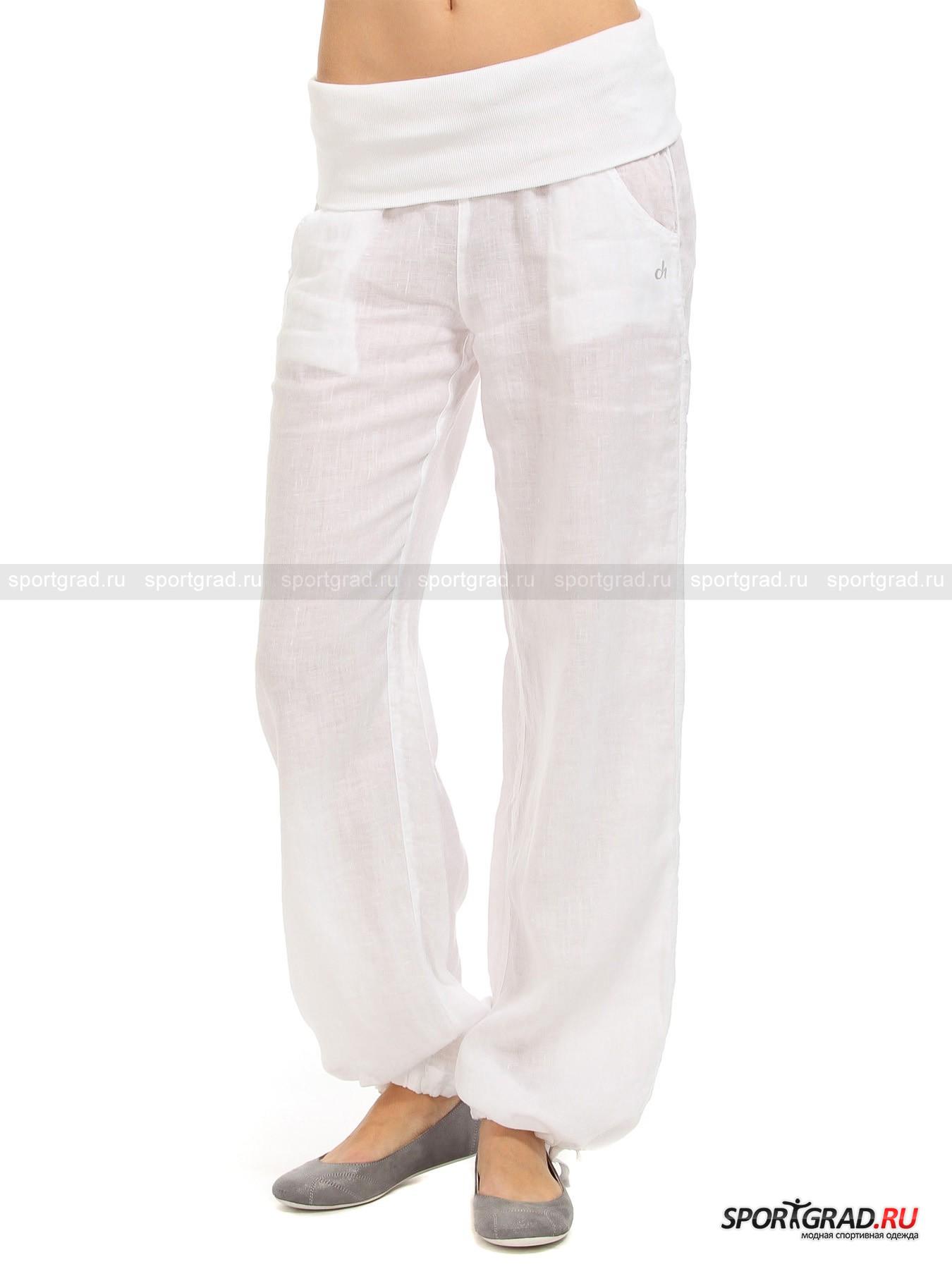 Брюки-паруса женские льняные  pants DEHAБрюки<br>Широкие женские брюки-паруса pants DEHA, которые при желании легко можно превратить в шаровары, стянув тесьму по низу штанины, благодаря просторному крою не сковывают движений и приятно холодят кожу: льняное полотно, из которого пошито изделие, не просто пропускает воздух, но и создает между телом и тканью особый освежающий микроклимат. Высокий трикотажный пояс на резинке с подворотом наружу и пропущенным принтованным шнуром дарит надежную эластичную посадку. Сзади модель имеет вытачки и фирменную декоративную шлевку, а спереди - прорезные карманы с фигурным входом и серебристой аппликацией-монограммой торгового дома.<br><br>Длина по боковому шву без учета пояса 98 см, ширина пояса 30 см (размер S).<br><br>Пол: Женский<br>Возраст: Взрослый<br>Тип: Брюки<br>Рекомендации по уходу: Изделию показана машинная стирка при температуре 40°, глажка при температуре, не превышающей 150°, и химчистка. Запрещены отбеливание и сушка в стиральной машине или электросушилке для белья.<br>Состав: Основное изделие: 100% лен. Отделка: 100%  хлопок.