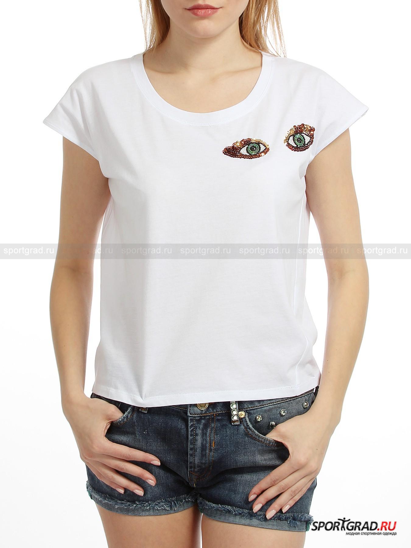 Футболка женская T-shirt BEAФутболки<br>Футболка женская T-shirt BEA – модель интересного покроя и свободного силуэта, сшитая из качественного трикотажа. Натуральный хлопок – лучший материал для людей с чувствительной кожей, а также хорошо подходит для повседневной носки.  Изделие декорировано шикарной вышивкой  в виде глаз, выложенных цветным бисером и блестящими пайетками.  Футболка выгодно  подчеркнет Вашу индивидуальность и хороший вкус.<br><br>Длина изделия сзади по центру от горловины до низа 52 см, ширина в груди 51 см (размер 40).<br><br>Пол: Женский<br>Возраст: Взрослый<br>Тип: Футболки<br>Рекомендации по уходу: Рекомендуется только ручная стирка в теплой воде. Не подвергать изделие отбеливанию, глажке, химчистке и отжиму в центрифуге.<br>Состав: 100% хлопок