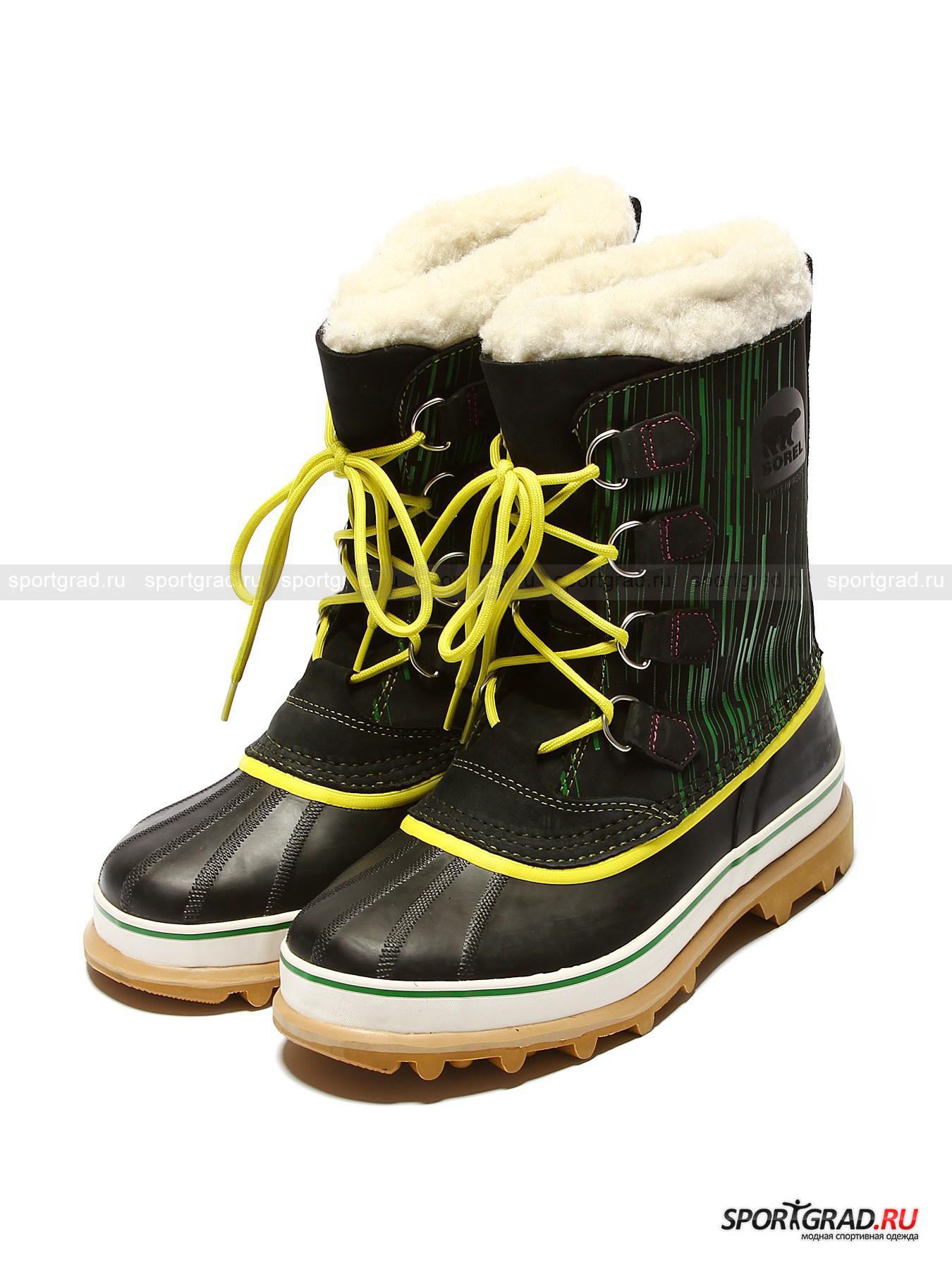 Ботинки мужские для города Caribou SORELБотинки<br>Ботинки мужские для города Caribou SOREL – удобная обувь отменного качества, хорошо известная среди любителей активного отдыха. Ботинки подойдут и для носки в городе во время очень холодной зимней погоды, а также защитят от неизбежной в больших городах слякоти. Нижняя часть обуви изготовлена из резины, верхняя часть - из водонепроницаемого нубука с графической печатью, а литая нескользящая подошва SOREL Aero-Trac – из вулканизированной резины ручной работы, главные преимущества которой – долговечность и устойчивость к истиранию, а также способность сохранять свою гибкость при температуре до -40С.  Съемная теплоизолирующая прокладка Thermoplus в виде внутреннего сапожка толщиной 9 мм позволит Вашим ногам всегда быть в тепле и сухости. Кроме того, ее всегда можно достать и постирать при необходимости.<br><br>Пол: Мужской<br>Возраст: Взрослый<br>Тип: Ботинки<br>Состав: Верх: натуральная кожа, резина. Внутренняя часть: текстиль, синтетические материалы.  Подошва: резина