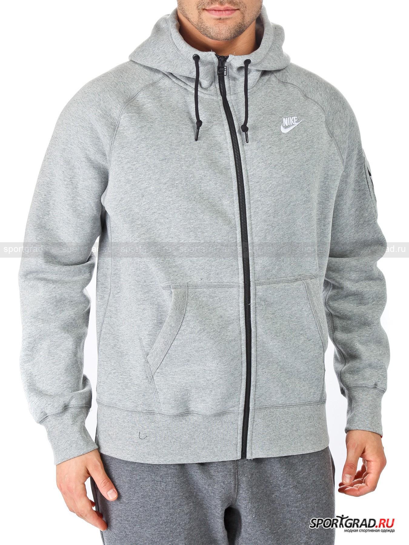 Толстовка мужская Nike Ace Flc fz hoody NIKE с начесом изнутри