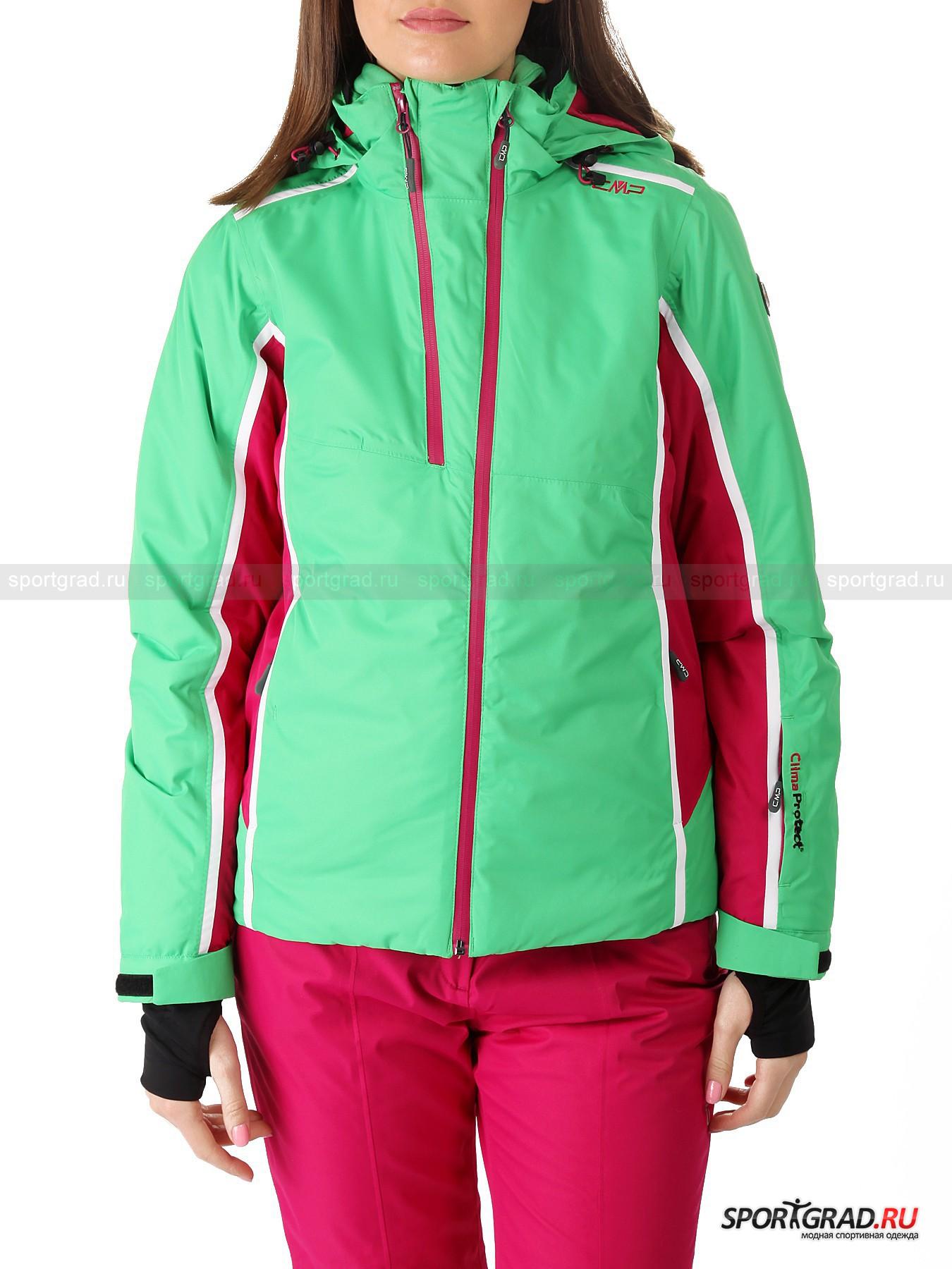 Куртка женская горнолыжная CAMPAGNOLOКуртки<br>Женская горнолыжная куртка CAMPAGNOLO, невесомо ложащаяся на плечи - для тех, кто и зимой хочет выглядеть так же ярко и ощущать себя столь же мобильным, что и летом! Уникальная система CLIMA PROTECT®, использованная при создании изделия, не позволит снегопаду или ледяному ветру испортить Вам катание, потому как материал поверхности, обладающий способностью транспортировать наружу сырой жар, не пропускает вовнутрь молекулы воды и выдерживает шквалистые порывы. <br><br>Модель имеет:<br>- влагоудержание 5000 мм вод. столба и дышащие характеристики 5000 г/кв. м/24 ч;<br>- съемный капюшон с «козырьком» на молнии, концы которого при помощи надежной металлической клепки пристегиваются к воротнику-стойке, отделанному по краю эластичной тесьмой;<br>- длинные втачные рукава, снизу дополненные  ремешком на липучке для коррекции ширины просвета и эластичными внутренними манжетами с прорезью для большого пальца;<br>- заламинированную центральную застежку с эргономичным бегунком и внутренней планкой, перекидной уголок которой снаружи страхует кожу подбородка от защемления + разрез на молнии правее, содержащий запас ткани для осуществления эффективной вентиляции;<br>- кокетку на плечах и фигурные рельефы на полочках и спинке, гарантирующие отличную посадку;<br>- проклеенные швы, обеспечивающие дополнительную страховку от промокания; <br>- парную кулиску по низу изделия и двойную на капюшоне; <br>- «снежную» юбку на резинке по низу, спереди застегивающуюся на кнопки и дополненную эластичной вставкой для большей свободы движений; <br>- пару прорезных карманов спереди на молнии + кармашек под карточку для ски-пасса на левом рукаве;<br>- комбинированную подкладку (сектор на спине дополнительно утеплен вставкой из того же мягкого пушистого материала, каким обшит изнутри воротник-стойка) с двумя накладными сетчатыми карманами и одним прорезным на молнии.<br>Длина рукава по внутреннему шву без учета манжет ок. 51, 5 см, длина сзади по центру