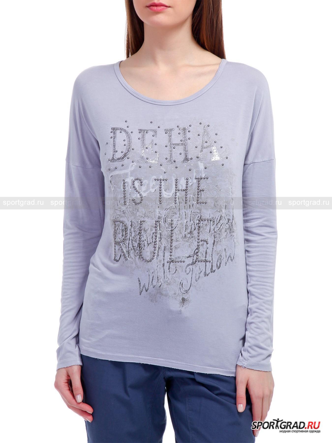 Лонгслив женский T-shirt  l/s DEHA со стразами и принтомДжемперы, Свитеры, Пуловеры<br>Великолепный женский лонгслив T-shirt l/s DEHA с приспущенной проймой, богато украшенный стразами и декорированный модно состаренным принтом спереди – демократичная модель, которая составит удачный комплект как со спортивными брюками или капри, так и джинсами. Созданное из обогащенного эластаном вискозного полотна, изделие упруго тянется, прекрасно вентилируется и гарантирует вольготную посадку. <br><br>Длина изделия сзади от горловины до низа ок. 62, 5 см, длина рукава по внутреннему шву 48 см, ширина груди 48 см, ширина по бедрам 47, 5 см (размер S).<br><br>Пол: Женский<br>Возраст: Взрослый<br>Тип: Джемперы, Свитеры, Пуловеры<br>Рекомендации по уходу: Изделию показана стирка при температуре 40°, глажка при температуре, не превышающей 110°, и химчистка. Запрещены отбеливание и сушка в стиральной машине или электросушилке для белья.<br>Состав: 96% вискоза, 4% эластан