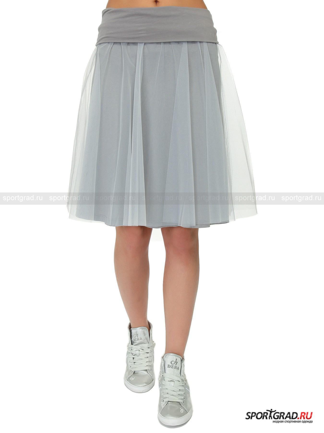Юбка женская  DEHA с полупрозрачным верхним слоемЮбки<br>Дивная женская юбка DEHA с флером полупрозрачной сеточки поверх стрейчевого хлопкового полотна, придающей модели отдаленное сходство с балетной пачкой – изделие, которое поможет подчеркнуть хрупкость и весеннюю беспечность своей владелицы.<br><br>Свободный крой гарантирует владелице юбки комфорт как шага, так и танцевальных движений, а эластичность двойного пояса со стильным подворотом наружу и изящным серебристым напылением логотипа на левом бедре – надежность посадки.  <br><br>Длина изделия сзади от пояса до низа 51 см, ширина пояса 32 см (размер 36).<br><br>Пол: Женский<br>Возраст: Взрослый<br>Тип: Юбки<br>Рекомендации по уходу: Изделию показана стирка при температуре 30°, глажка при температуре, не превышающей 110°, и химчистка. Запрещены отбеливание и сушка в стиральной машине или электросушилке для белья.<br>Состав: Поверхность: 100% полиамид. Пояс: 100% хлопок. Нижний слой: 93% хлопок, 7% эластан.