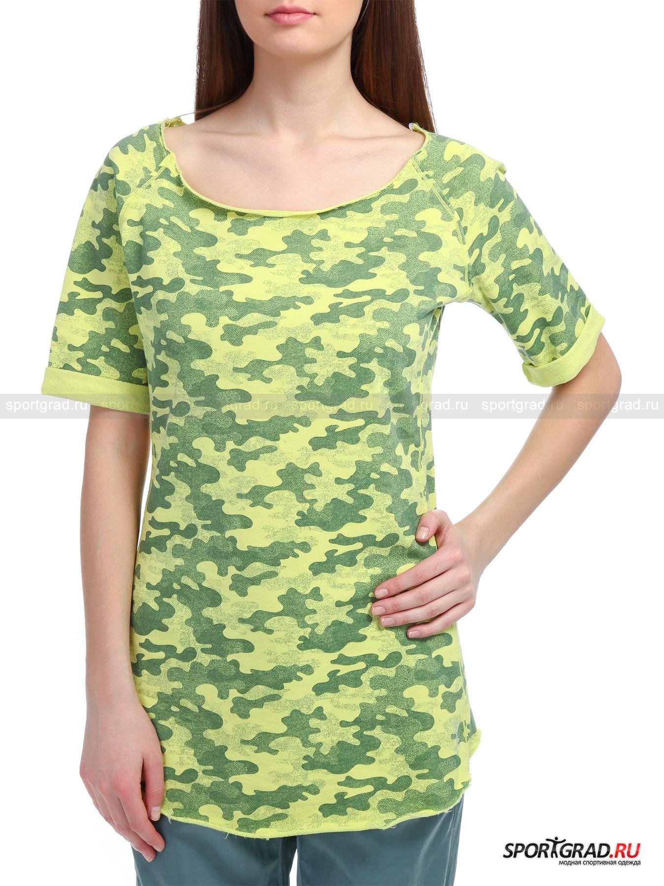 Футболка женская принтованная Sh/sleeves Swetshirt DEHA из футерированного хлопкаФутболки<br>Принтованная женская футболка Sh/sleeves Swetshirt с камуфляжными кляксами весеннего солнечного света и пятнами первой зелени смотрится задорно и интересно! Футерированное хлопковое полотно, с изнаночной стороны имеющее петельчатый начес, легонько массажирует кожу, позволяет ей дышать и абсорбирует с нее влагу, что наделяет данное изделие высокими гигиеничными свойствами. <br><br>Модель имеет:<br>- смелый овальный вырез горловины, обнажающий шею и ключицы; <br>- короткие рукава фасона реглан с застроченными по бокам отворотами наружу;<br>- выполненные с наложением ткани прочные конструктивные швы спереди и сзади;<br>- удлиненную спинку и фигурные подрезы по подолу;<br>- отделку выреза горловины и низа изделия необработанным краем в стиле «гранж»;<br>- серебристо поблескивающую аппликацию с названием логотипа, расположившуюся на левом бедре, и декоративную фирменную шлевку сзади под воротом – в качестве украшения.<br>Длина изделия сзади от горловины до низа ок. 71, 5 см, длина рукава по внутреннему шву 16 см, ширина груди 17, 5 см, ширина по бедрам 49 см (размер S).<br><br>Пол: Женский<br>Возраст: Взрослый<br>Тип: Футболки<br>Рекомендации по уходу: Изделию показана стирка при температуре 30°, глажка при температуре, не превышающей 110°, и химчистка. Запрещены отбеливание и сушка в стиральной машине или электросушилке для белья.<br>Состав: 100% хлопок