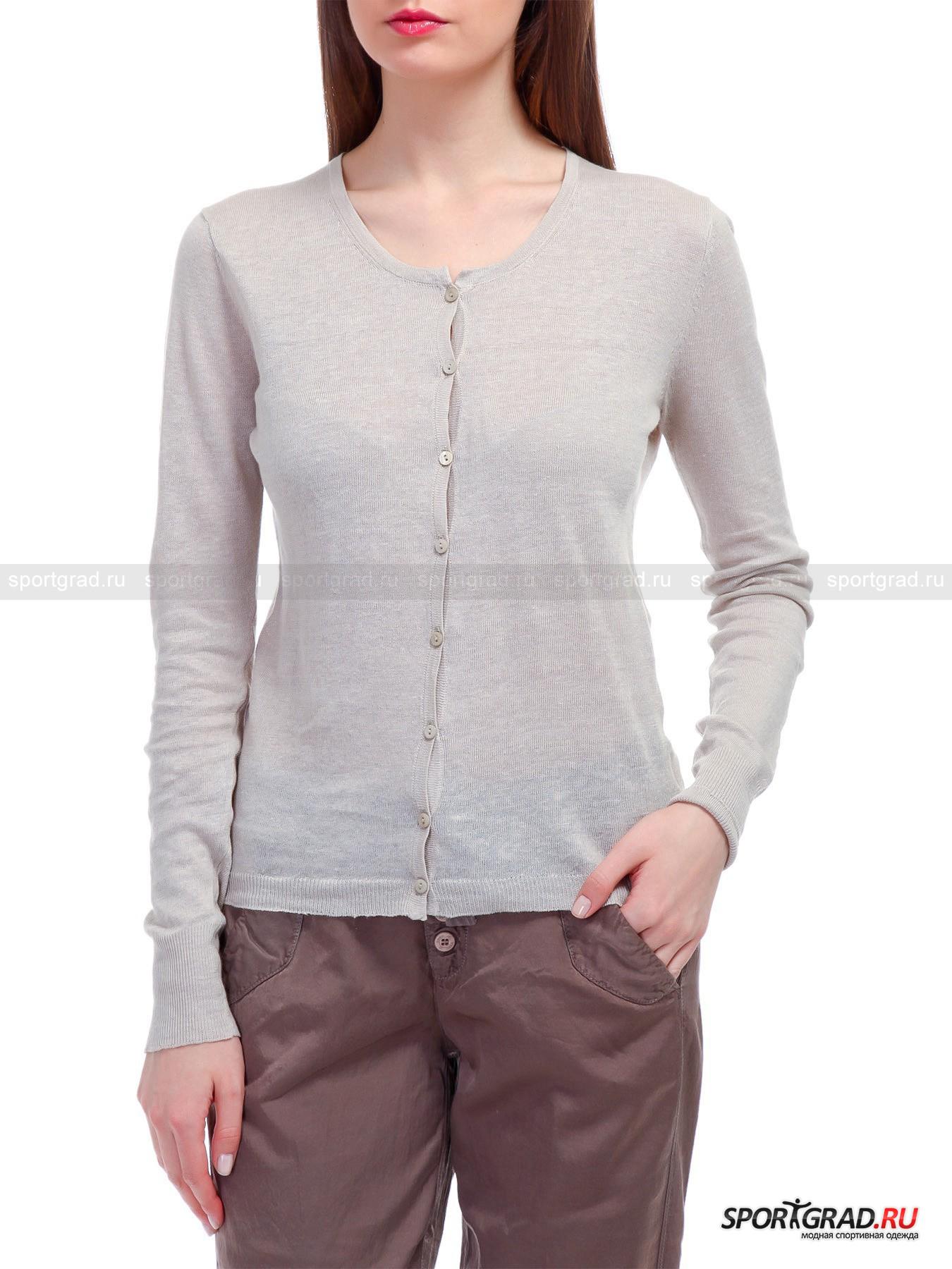 Кардиган женский легкий Cardigan DEHAДжемперы, Свитеры, Пуловеры<br>Легкий женский кардиган Cardigan DEHA на пуговках, декорированный со стороны левого бедра скромной аппликацией из блестящих металлостраз, выложивших логотип торговой марки – необходимая для лета вещь, которую можно для тепла накинуть на плечи, чуть Вы почувствовали, как потянуло зябким холодком с набережной или задуло от кондиционера в туристическом автобусе. Выполненное из смеси льна и хлопка, изделие представляет собой модель, которая умеет дышать, мало пачкаться и прекрасно впитывать влагу. Вязка в «резинку», которой отделан округлый вырез горловины, высокие прилегающие манжеты и низ полочек со спинкой, способствует комфортной посадке. <br><br>Длина изделия сзади от горловины до низа ок. 59 см, длина рукава по внутреннему шву 50, 5 см, ширина груди 46, 5 см, ширина по бедрам 43, 5 см (размер S).<br><br>Пол: Женский<br>Возраст: Взрослый<br>Тип: Джемперы, Свитеры, Пуловеры<br>Рекомендации по уходу: Изделию показана стирка при температуре 30°, глажка при температуре, не превышающей 110°, и химчистка. Запрещены отбеливание и сушка в стиральной машине или электросушилке для белья.<br>Состав: 81% лен, 19% хлопок