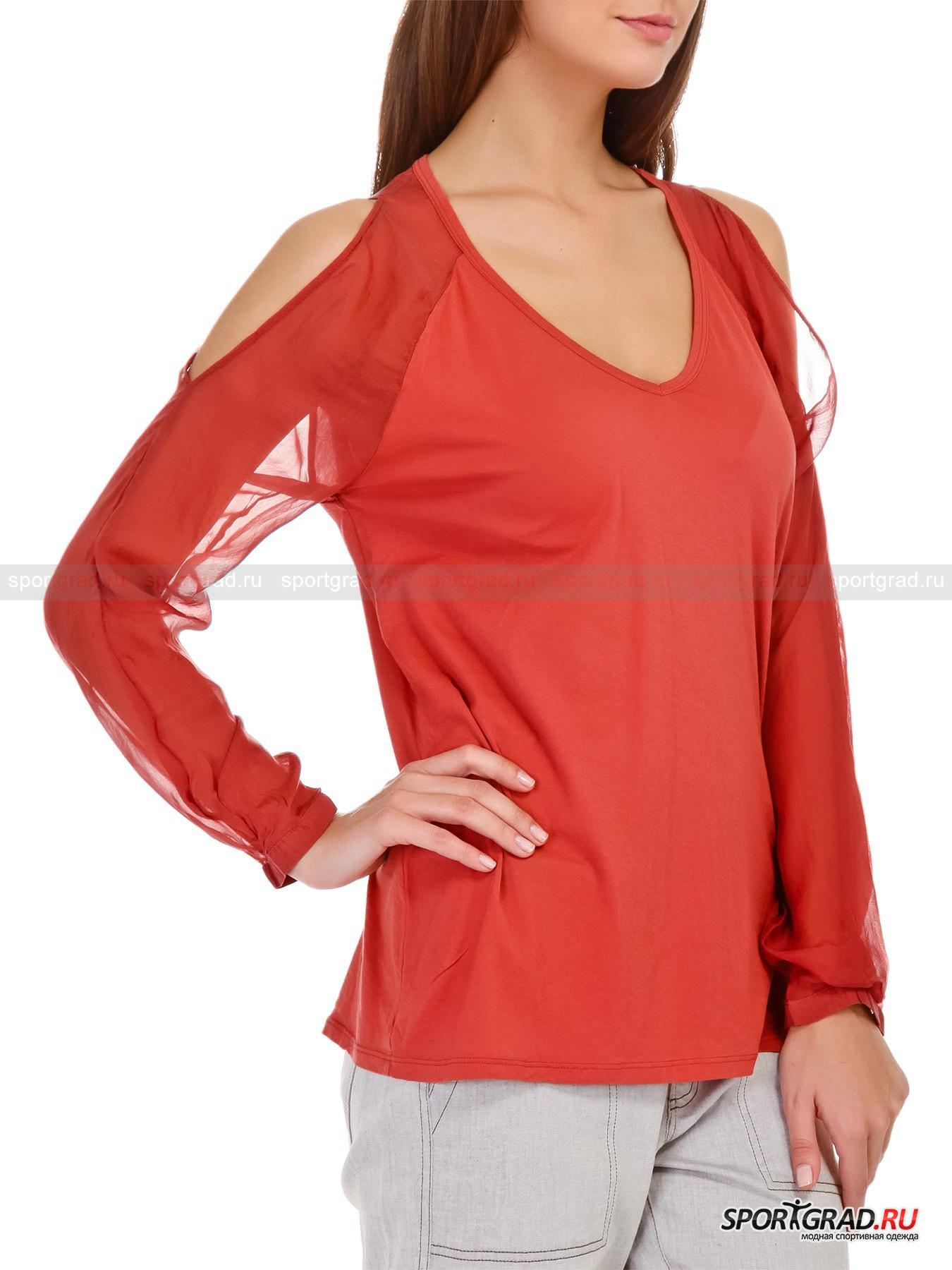 Блузка-лонгслив женская Swetshirt DEHAДжемперы, Свитеры, Пуловеры<br>Хлопковая блузка-лонгслив Swetshirt DEHA приглушенно кирпичного цвета с прозрачными шелковыми рукавами фасона реглан имеет  очень женственный крой, обнажающий хрупкие плечи, и фигурный вырез горловины, делающий акцент на длине шеи и нежных изгибах ключиц. Легкое эластичное полотно спинки и полочек, мягкое и гипоаллергенное, заботится о раскованности движений и комфортном самочувствии кожи. Сзади вверху модель украшена фирменной шлевкой с названием торговой марки.<br><br>Пол: Женский<br>Возраст: Взрослый<br>Тип: Джемперы, Свитеры, Пуловеры<br>Рекомендации по уходу: Изделию показана стирка при температуре 30°, глажка при температуре, не превышающей 110°, и химчистка. Запрещено отбеливание и сушка в стиральной машине или электросушилке для белья.<br>Состав: Спинка и полочки: 100% хлопок. Рукава: 100% шелк.