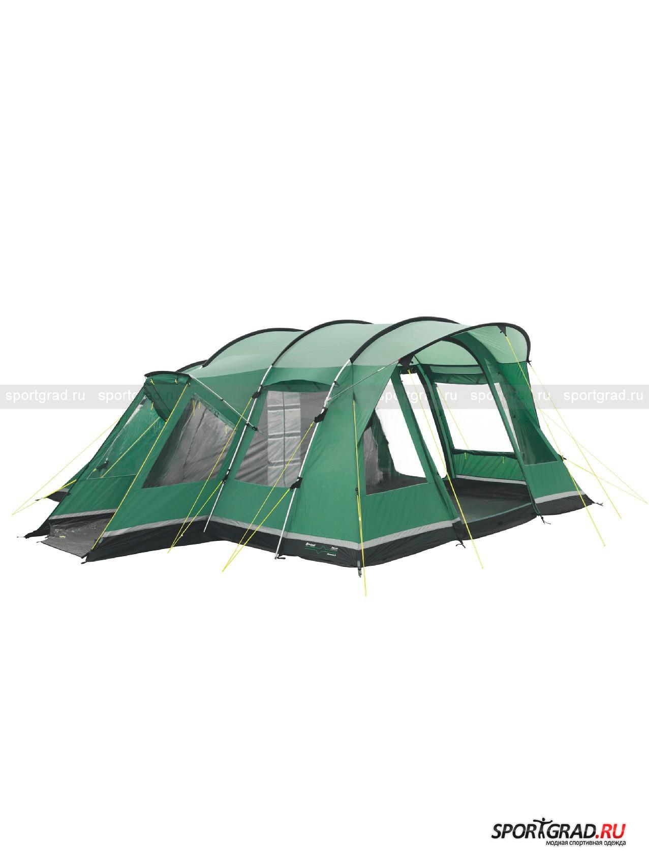 Палатка шестиместная Montana 6 OutwellПалатки<br>Качественная двухслойная палатка тоннельного типа из топовой cерии DeLuxe с тремя жилыми отсеками. В этой палатке могут с комфортом разместиться до 6 человек. Палатка имеет три спальных отсека и просторный холл с несколькими большими окнами. Система стабилизации повышает устойчивость палатки в суровых погодных условиях, при сильном и даже при штормовом ветре. Верх изготовлен из фирменного огнеупорного материала Outtex – гарантия Вашей защищённости.<br><br>Модель имеет:<br><br>?Большие окна со скручивающимися шторками<br>?Просторную гостинную<br>?Регулируемую внутреннюю палатку<br>?Карманы-органайзеры<br>?Держатель для лампы и кабеля<br>?Полностью герметичный тент для максимальной защиты<br>?Сетчатые карманы во внутренней палатке<br>?Стрессовые точки укреплены армированными накладками<br>?Светящиеся ветровые растяжки<br>?Надежные, водонепроницаемые молнии<br><br>Возраст: Взрослый<br>Тип: Палатки<br>Состав: Верх: полиэстер, подкладка: полиэтилен.