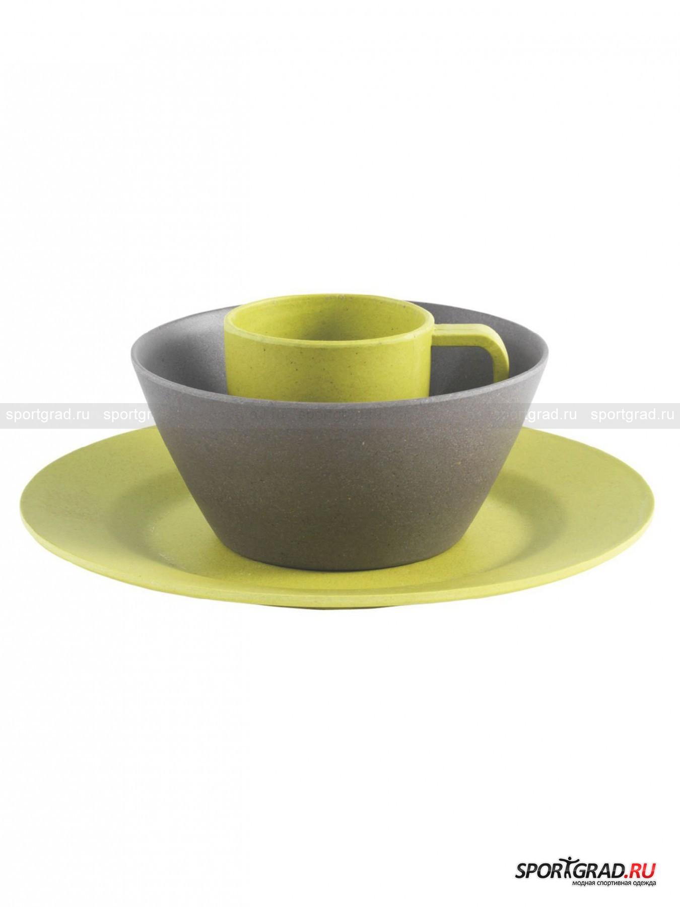 Набор посуды бамбук: кружка+тарелка+чаша PicnicСпальные Мешки<br>Выполненный из бамбука набор для пикника от Outwell - это идеальный вариант для небольшой поездки или пикника. Посуда из биоразлагаемого переработанного бамбука и отличается своей экологичностью и безопасностью. В комплекте три предмета: глубокая чаша, плоская тарелка и кружка. Отличный подарок и просто практичная вещь от известного датского бренда Outwell.<br><br>Возраст: Взрослый<br>Тип: Спальные Мешки<br>Состав: Бамбук