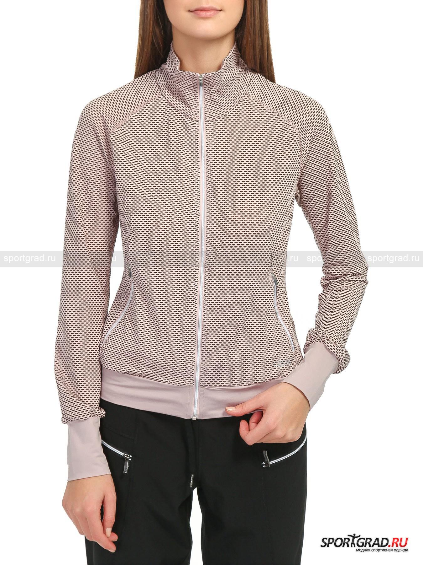 Олимпийка женская Mesh Jacket CASALL для бега и фитнесаТолстовки<br>Спортивная женская олимпийка Mesh Jacket CASALL с затянутыми сеточкой отверстиями для вентиляции отлично подойдет для разминки и в качестве накидки пригодится после тренировки. <br><br>Модель имеет:<br>- воротник-стойку на подкладке;<br>- удобные для совершения движений рукава-реглан с высокими  эластичными манжетами;<br>- распашную молнию с фиксируемым положением бегунка;<br>- упругий притачной пояс;<br>-  пару наружных прорезных карманов с зиппером + два накладных изнутри.<br>Длина изделия сзади по центру от горловины до низа 55 см, длина рукава по внутреннему шву 55, 5 см , ширина в груди 44, 5 см, ширина по бедрам 40, 5 см (размер 36).<br><br>Пол: Женский<br>Возраст: Взрослый<br>Тип: Толстовки<br>Рекомендации по уходу: Изделию показана стирка при температуре строго 40°, глажка при температуре, не превышающей 110°, и бережная химчистка. Запрещено отбеливание и сушка в стиральной машине и электросушилке для белья.<br>Состав: 85% полиамид, 8% полиэстер, 7% эластан