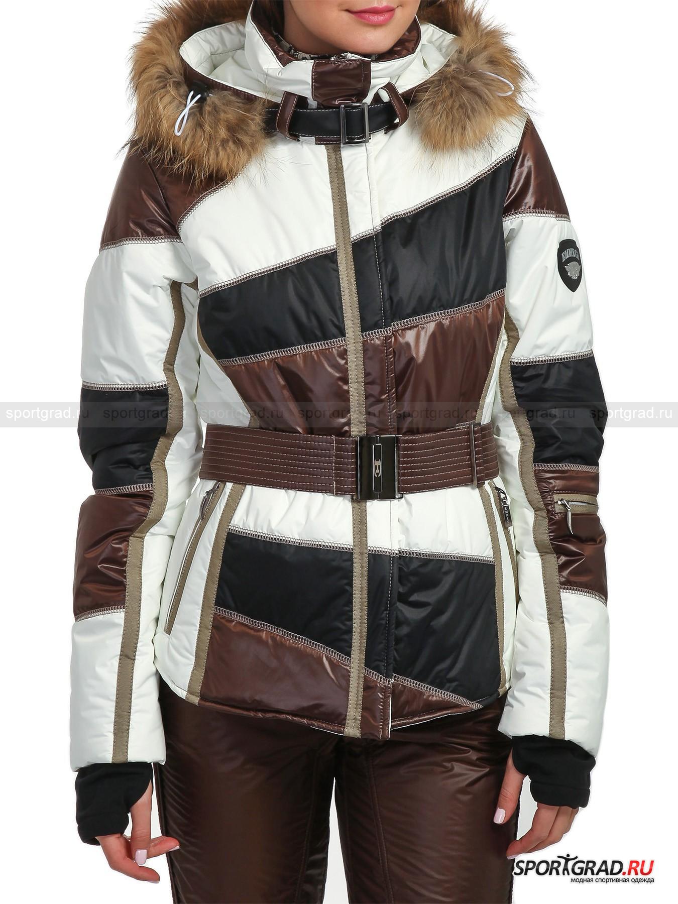 Куртка горнолыжная женская с мехом SUNP EMMEGIКуртки<br>Оригинальный горнолыжный дизайн итальянского бренда EMMEGI с каждым годом покоряет всё больше поклонниц. Их одежда выглядит изысканно и со вкусом, а использование собственных разработок делают её уникальной. Ткань COMFOREX от компании HANIL защитит Вас от холода, делая куртку непромокаемой и непродуваемой, долго сохраняя свой первоначальный вид. Данная модель не только имеет изысканный внешний вид и утончённый приталенный крой, но и сделает Ваши любимые занятия ещё более приятными.<br><br>Куртка имеет:<br>- выразительный дизайн;<br>- съёмный регулируемый капюшон с отстёгивающейся отделкой из натурального меха енота и специальной застёжкой;<br>- сложный приталенный крой;<br>- «леопардовую» внутреннюю отделку;<br>- рукава анатомической формы со вшитыми флисовыми манжетами, снабжёнными прорезью для большого пальца;<br>- надёжную двухзамковую молнию с двухсторонней защитой от продувания и соприкосновения с кожей;<br>- 4 кармана, включая 1 внутренний и 1 нарукавный на молнии;<br>- съёмный пояс с массивной магнитной застёжкой;<br>- фирменную фурнитуру с символикой EMMEGI;<br>- съёмную снегозащитную юбку на кнопках.<br><br>Пол: Женский<br>Возраст: Взрослый<br>Тип: Куртки<br>Рекомендации по уходу: Деликатная ручная стирка при 30 градусах, не отжимать, гладить при низкой температуре.<br>Состав: Верх: 36% нейлон, 24% полиэстер, 40% полиуретан; подкладка: 100% полиэстер; наполнитель: 100% полиэстер.