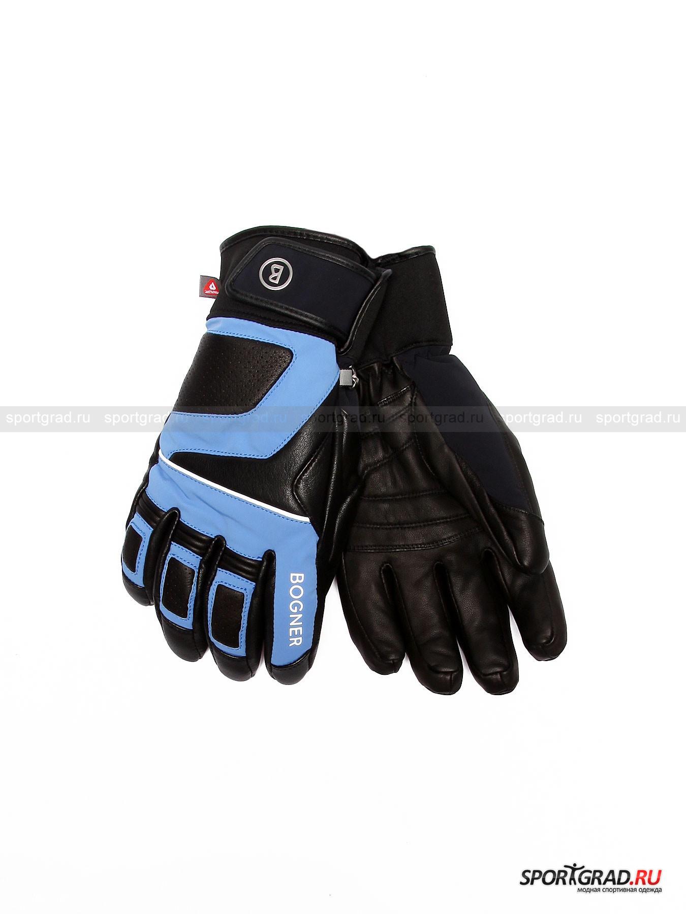Перчатки мужские горнолыжные Adam R-TEX® XT BOGNERПерчатки, Варежки,Шарфы<br>Мужские горнолыжные перчатки Adam R-TEX® XT BOGNER, «собранные» из материалов нескольких видов, выполнены в рок-стиле и защищены от ветра, морозов и снега посредством мембраны R-TEX® XT. Данная система в союзе с высокотехнологичным наполнителем PrimaLoft® One и мягким ворсом искусственного меха подкладки позволяет коже дышать, выпуская наружу ненужное тепло. <br><br>Модель имеет:<br>-  вставки из натуральной кожи со стороны ладони (моделирующие рельеф сцепления), а также  на пальцах и пястье; <br>- зигзагообразную эластичную сборку на резинку в районе запястья, надежно фиксирующую изделие;<br>-  манжету, отмеченную фирменным логотипом и снабженную корректирующим обхват хлястиком на липучке;<br>- металлические полукольца на каждой из перчаток, за счет соединения которых (при помощи карабина) их можно прикрепить к соответствующему держателю на куртке;<br>- износоустойчивые петли для вешалки;<br>- светоотражающие бейку и наименование торгового дома на указательном пальце.<br><br>Пол: Мужской<br>Возраст: Взрослый<br>Тип: Перчатки, Варежки,Шарфы<br>Рекомендации по уходу: Изделию показана сушка в подвешенном виде. Запрещены стирка, глажка, химчистка, отбеливание и сушка в стиральной машине или электросушилке для белья.<br>Состав: Поверхность: 50% кожа, 40% полиамид, 10% резина. Подкладка: 100% полиэстер. Наполнитель: 100% полиэстер.