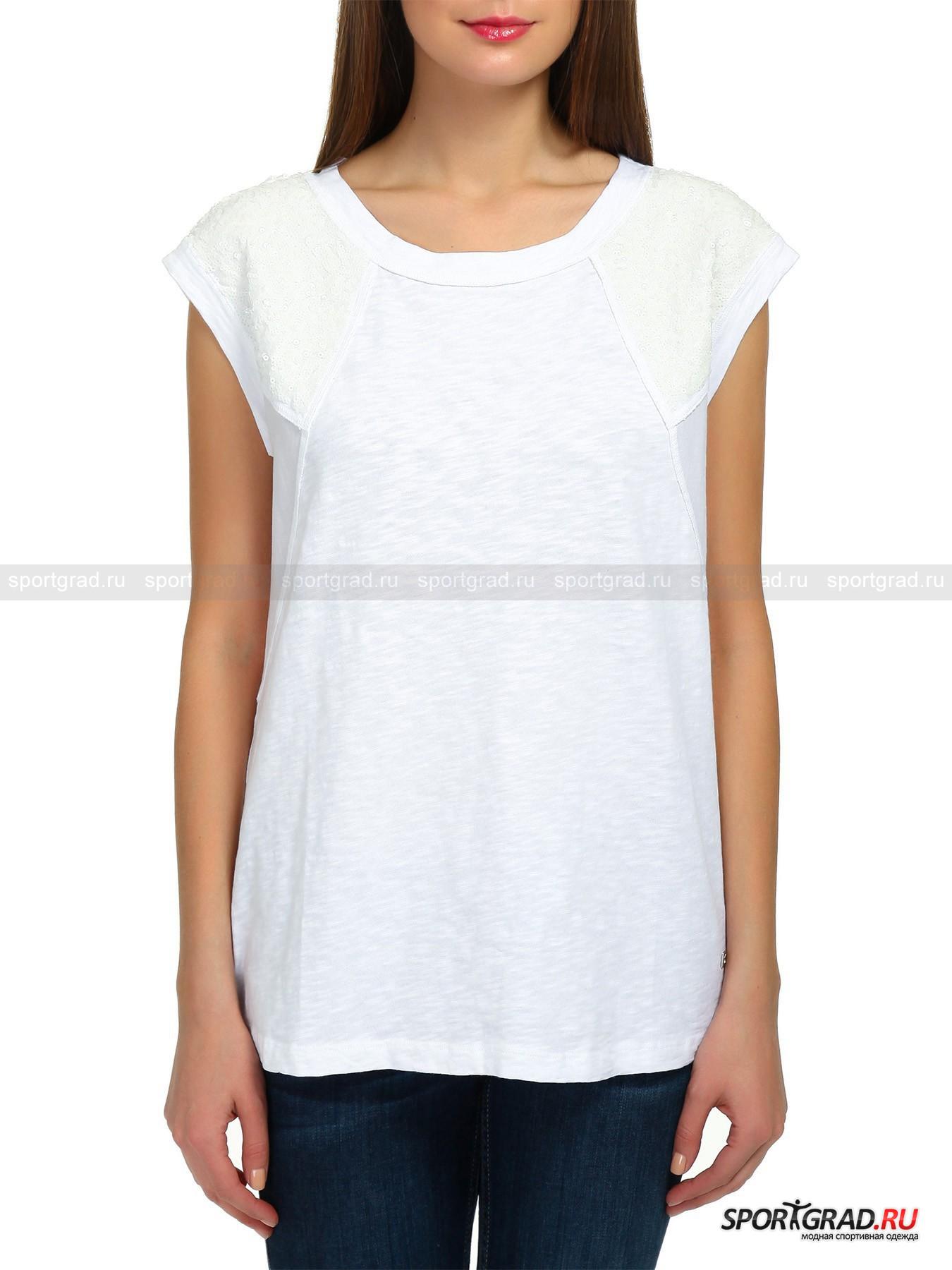 Футболка женская WOVEN MIX BOGNER JEANSФутболки<br>Женская футболка без рукавов WOVEN MIX в превосходном гламурном исполнении BOGNER JEANS - это выбор самых оригинальных модниц. Для её создания использовалось два вида мягких хлопковых тканей, и большое количество пайеток молочного цвета. Модель имеет сложный, довольно свободный крой, вывернутые наизнанку швы и украшена небольшой металлической эмблемой BOGNER JENS снизу.<br><br>Пол: Женский<br>Возраст: Взрослый<br>Тип: Футболки<br>Рекомендации по уходу: Деликатная ручная стирка при температуре 30 градусов, щадящий ручной отжим, гладить при температуре до 120 градусов.<br>Состав: 100% хлопок
