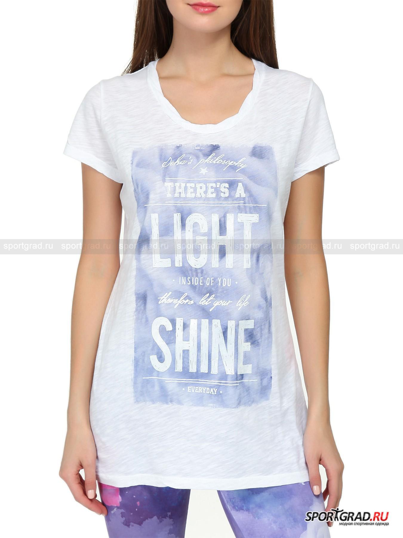 Футболка женская хлопковая T-shirt   DEHAФутболки<br>Удлиненная футболка T-shirt DEHA составит идеальную компанию леггинсам или облегающим брюкам. Она не так проста, как кажется на первый взгляд: материал, из которого сделана футболка, благодаря уникальной технологии изготовления имеет неоднородную текстуру, и белый цвет изделия выглядит не скучно, а оригинально и модно. Расслабленный покрой скроет возможные недостатки фигуры, немного «мятая» горловину добавит образу небрежности, а надпись на груди расскажет миру о жизненной философии девушки в стиле Deha – сиять всегда  и везде.<br><br>Пол: Женский<br>Возраст: Взрослый<br>Тип: Футболки<br>Рекомендации по уходу: стирка в теплой воде до 30 С; не отбеливать; гладить слегка нагретым утюгом (температура до 120 C); только сухая чистка; нельзя выжимать и сушить в стиральной машине<br>Состав: 100% хлопок