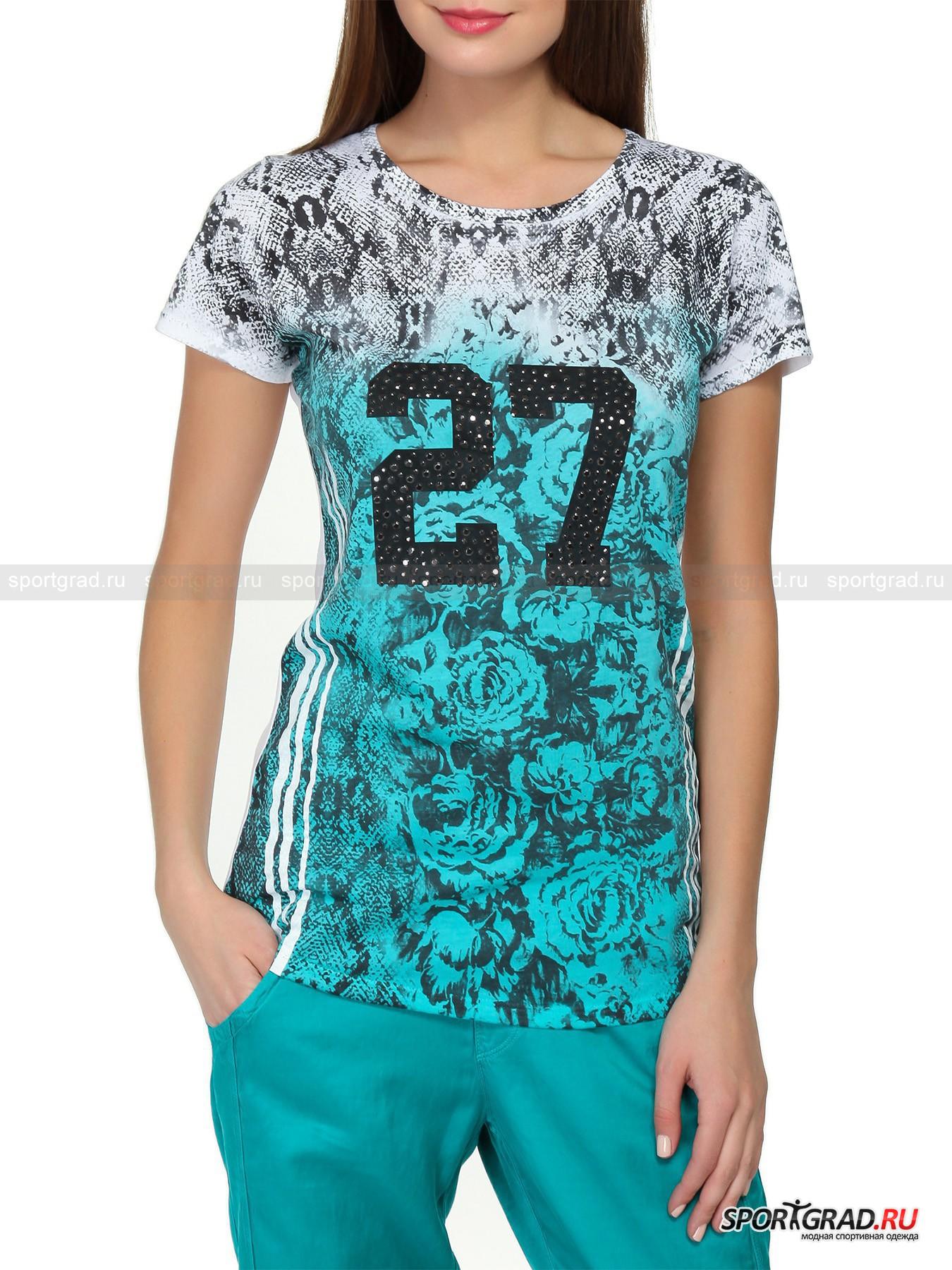Футболка женская T-shirt DEHAФутболки<br>Броская футболка T-shirt DEHA – идеальная модель для тех, кто любит быть в центре внимания. Сзади она декорирована лишь шлевкой с надписью Deha, расположенной у горловины по центру, зато спереди вы увидите сочетание сразу двух принтов: имитация змеиной кожи и крупные цветы сплелись между собой, образуя причудливый узор. Основных цвета у футболки тоже два: сверху вниз белый плавно перетекает в голубой. На груди модели расположилась цифра 27, декорированная множеством темно-серых страз разного размера. Несколько спортивный вид изделию придают  полоски по бокам, нанесенные будто бы белой краской.<br><br>Пол: Женский<br>Возраст: Взрослый<br>Тип: Футболки<br>Рекомендации по уходу: стирка в теплой воде до 30 С; не отбеливать; гладить при низкой температуре (до 120 C); только сухая чистка; нельзя выжимать и сушить в стиральной машине<br>Состав: 100% хлопок