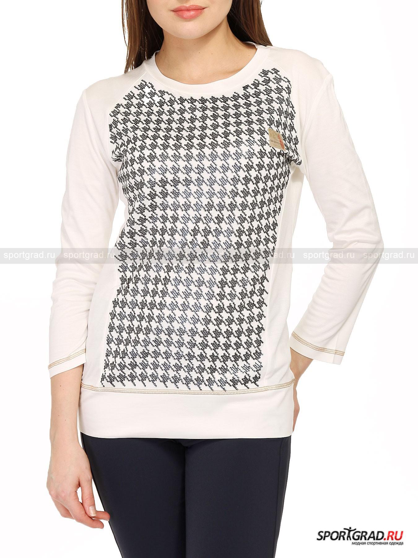 Футболка женская Rick Castele SPORTALMДжемперы, Свитеры, Пуловеры<br>Женская футболка с длинными рукавами Rick Castele SPORTALM и динамичным рисунком, созданным из нашитых в определенном порядке пайеток спереди. Материал изделия лёгок и приятен на ощупь, в нём комфортно в теплую погоду. Этот лонгслив универсален, так как подходит и для гардероба в спортивном стиле, и для создания офисных луков, если нет строгих требований дресс-кода.<br><br>Пол: Женский<br>Возраст: Взрослый<br>Тип: Джемперы, Свитеры, Пуловеры<br>Состав: 100% вискоза, 100% модал.