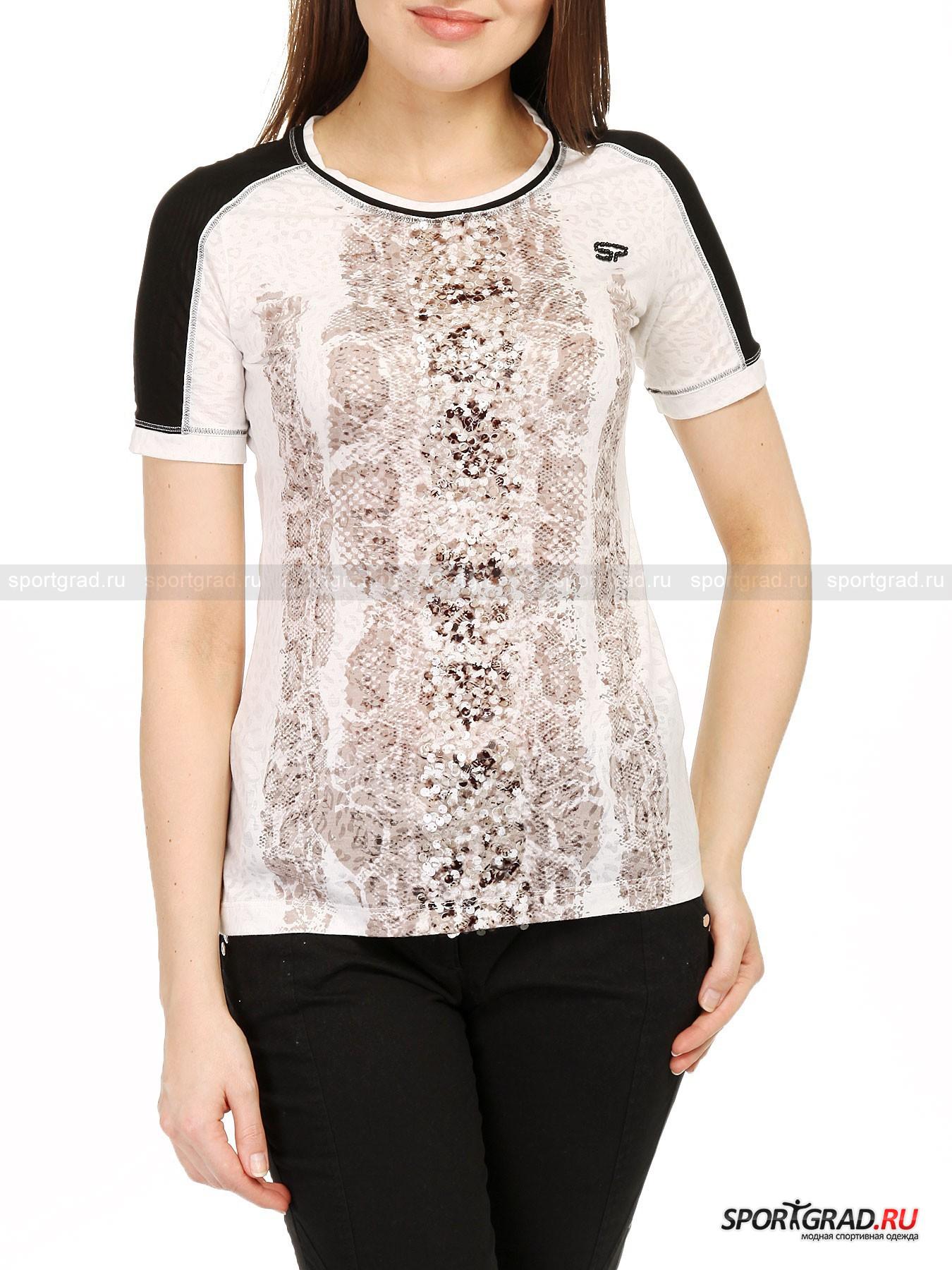 Футболка женская Panyin SPORTALMФутболки<br>Гламурная женская футболка Panyin SPORTALM подойдет девушкам, предпочитающим красивую и удобную одежду в обычной жизни. Модель создана из высококачественного, очень лёгкого, приятного на ощупь материала, отделана спереди принтом, имитирующим змеиную кожу, и декорирована несколькими рядами глянцевых пайеток – выглядит очень эффектно. Рукава футболки украшены вставками из чёрного полупрозрачного материала, что придаёт изделию спортивный вид.<br><br>Пол: Женский<br>Возраст: Взрослый<br>Тип: Футболки<br>Состав: основной материал: 67% полиэфир, 33% вискоза, вставки на рукавах: 100% полиэфир.