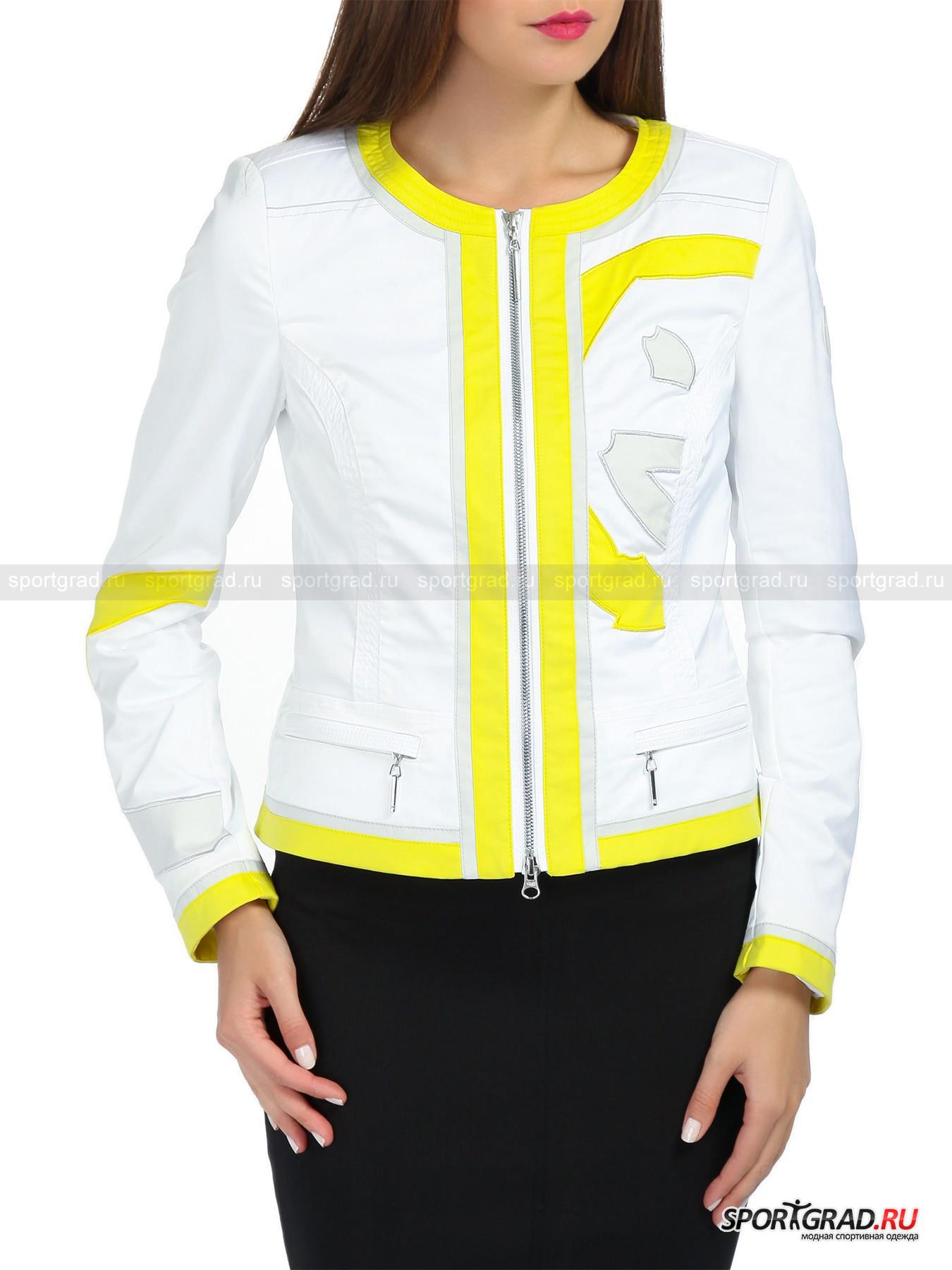 Куртка женская Lightsome SPORTALMВетровки<br>Лёгкая женская куртка Lightsome SPORTALM — идеальное приобретение: она пригодится во время вечерних прогулок и в летнее ненастье. Вертикальные рельефы спереди и сзади создают оптимальное прилегание по линии талии и в области груди, подчеркивая изгибы и не сковывая движений. Отделка широкими жёлтыми кантами, а также вставки в виде вытянутых треугольников из ткани с озорным рисунком, резко контрастирующим с основным однотонным материалом, играют важную роль в визуальном вытягивании фигуры, иными словами, стройнят.  Мягкие подплечники формируют ровную линию плеч и обеспечивают превосходную посадку верхней части куртки. Смелое цветовое решение и классический приталенный покрой делают модель универсальной и смелой, позволяя забыть о стандартных скучных ветровках и жакетах похожего фасона.<br><br>Пол: Женский<br>Возраст: Взрослый<br>Тип: Ветровки<br>Состав: Состав: 67%полиэстер, 30% хлопок, 3% эластан.