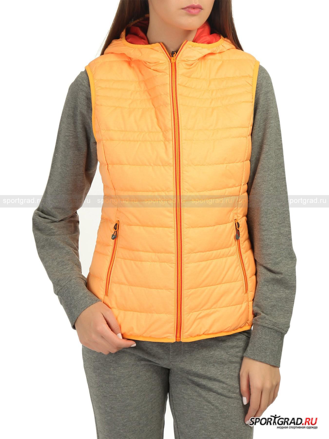 Жилет женский CAMPAGNOLO FIX HOODЖилеты<br>Итальянский производитель постарался сделать женскую модель пухового жилета максимально легкой, аккуратной и практичной.  CAMPAGNOLO FIX HOOD обладает утеплителем из пуха и пера и отлично подойдет в демисезонный период года, когда погода частенько бывает прохладной. Но сами производители настаивают, что этот предмет одежды пригодится и в походных условиях за счет своих теплосберегающих свойств. К тому же внутренний полиэстеровый слой плотно удерживает утеплитель от вылезания, поэтому куртка долгое время будет выглядеть, будто ее только купили. Изюминкой всей этой композиции является опция компактного складывания в мешочек. Стало слишком жарко во время пути? Больше не нужно таскать верхнюю одежду в руках, ее можно просто убрать в рюкзак.<br><br>•Удобный капюшон<br>•Фронтальная молния<br>•Два передних кармана на молнии<br>•Два внутренних глубоких кармана<br><br>Пол: Женский<br>Возраст: Взрослый<br>Тип: Жилеты<br>Рекомендации по уходу: Стирка при температуре 30 С; минимум чистящего средства; при стирке использовать 2 теннисных мячика, чтобы не сбивался пух; отбеливание запрещено; сушка в барабане; не гладить; химчистка запрещена; рекомендуется аквачистка; при стирке не смешивать с издел<br>Состав: 100% полиэстер, утеплитель – 90% пух/10% перо.