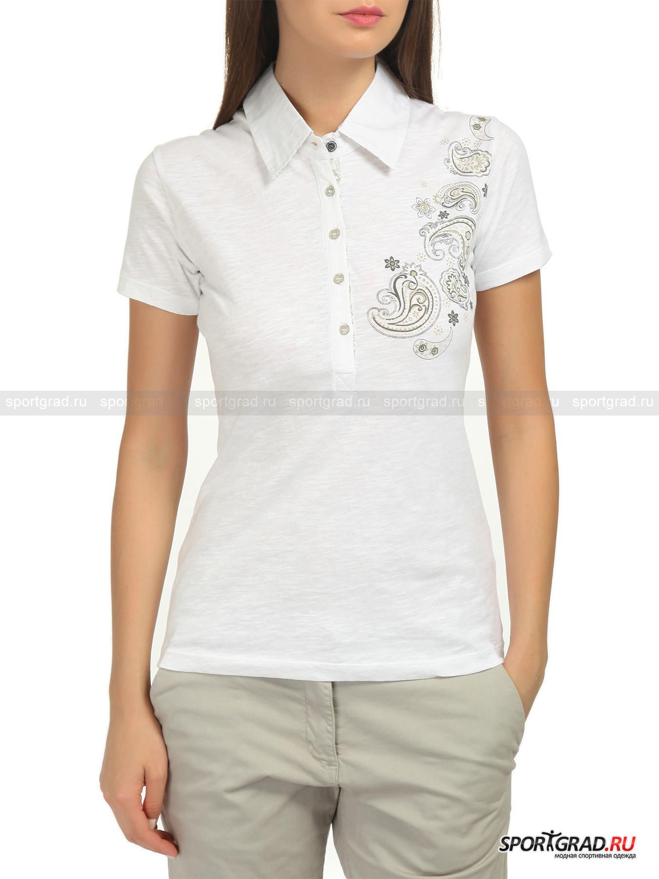 Поло женское CAMPAGNOLO FLOWERSПоло<br>Данную модель женского поло CAMPAGNOLO FLOWERS можно назвать полуфутболкой с воротом от рубашки. Визуально это типичное поло, но на ощупь мягкий, легкий хлопковый материал и дизайн рукавов выдают уникальную особенность одежды. Плюс наличие характерного для рубашек ворота дополняют диковинный предмет гардероба. Такое поло подойдет счастливым обладателям тонкого вкуса, умеющим невероятно четко подобрать одежду под свой образ.<br><br>•Застегивается на 5 пуговиц<br>•Контрастная роспись цветами в виде принта<br><br>Пол: Женский<br>Возраст: Взрослый<br>Тип: Поло<br>Рекомендации по уходу: Щадящая стирка при 40 С; отбеливание запрещено; сушка в барабане запрещена; сушка в вертикальном положении; отжим разрешен; гладить при температуре до 110 С; химчистка запрещена; разрешена щадящая аквачистка; при стирке не смешивать с изделиями других цве<br>Состав: 100% хлопок.