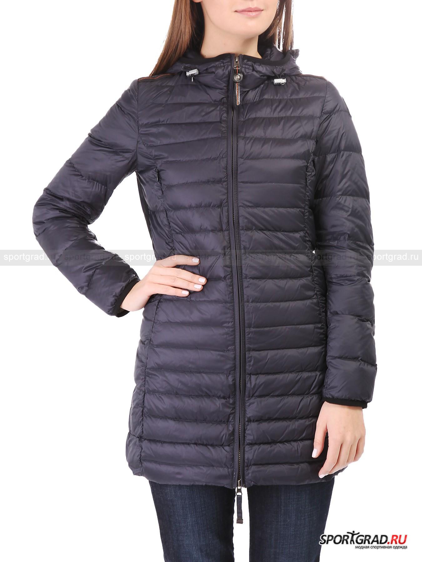 Парка пуховая женская Irene PARAJUMPERSПуховики<br>Суперлегкая  и невероятно тонкая куртка-парка Irene Parajumpers рассчитана на межсезонье или теплую зиму.  Она утеплена натуральным пухом с примесью пера, но при этом способна очень компактно складываться, что позволяет с легкостью брать парку с собой в путешествия, не занимая много места в чемодане.<br><br>Куртка имеет приталенный крой и фасон slim fit – она облегает тело, не скрывая фигуру, а подчеркивая ее. <br><br>Особенности модели:<br>- фронтальная молния с двумя бегунками;<br>- капюшон с кулисками-утяжками;<br>- четыре кармана на молнии, скрытые в швах спереди;<br>- петля для подвешивания;<br>- «погоны» на плечах;<br>- фирменная нашивка.<br><br>Пол: Женский<br>Возраст: Взрослый<br>Тип: Пуховики<br>Рекомендации по уходу: деликатная стирка в теплой воде до 30 С; не отбеливать; не гладить; не подвергать химической чистке; не сушить в стиральной машине<br>Состав: 100% полиамид; наполнитель 90% пух, 10% перо