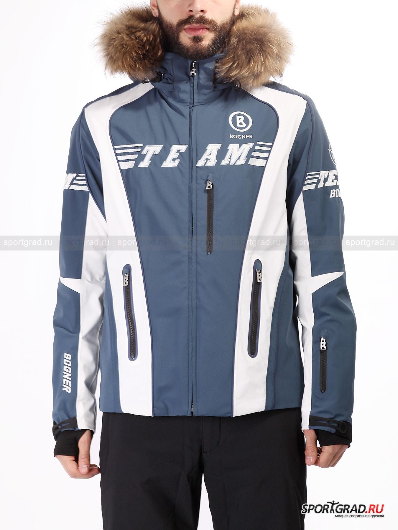 Куртка горнолыжная мужская Keano-T BOGNERКуртки<br>Горнолыжная куртка Keano-T Bogner выдает спортивный характер с первого взгляда. Это модель для тех, кто приехал в горы не просто покататься в свое удовольствие, а достичь высот в этом виде спорта и ценит функциональность не меньше, чем внешний вид.<br><br>Куртка не промокает, не продувается и обеспечивает правильный теплообмен, так что в такой вещи будет удобно провести на склоне хоть целый день. А стильный яркий дизайн выдаст в обладателе куртки настоящего поклонника горных лыж и Bogner.<br><br>Особенности модели:<br>- влагозашита 20000 мм водяного столба;<br>- воздухопроницаемость 20000 г/м2/24ч;<br>- швы полностью проклеены;<br>- фронтальная молния по всей длине;<br>- высокий воротник;<br>- отстегивающийся капюшон с утяжкой, который можно дополнить мехом (приобретается отдельно);<br>- четыре внешних кармана: три спереди и один на рукаве;<br>- два внутренних кармана: один сетчатый накладной, другой на молнии;<br>-эластичные манжеты с прорезями для больших пальцев;<br>- объем внешних манжет регулируется липучкой;<br>- снегозащитная «юбка»;<br>- утяжка по низу изнутри;<br>- фирменные нашивки Bogner.<br><br>Пол: Мужской<br>Возраст: Взрослый<br>Тип: Куртки<br>Рекомендации по уходу: Деликатная стирка при 30 С, не отбеливать, гладить при температуре до 110 С; щадящая влажная чистка; нельзя выжимать сушить в стиральной машине.<br>Состав: Материал верха 88% полиамид, 12% эластан; подкладка 1) 88% полиэстер, 12% эластан 2) 100% полиэстер