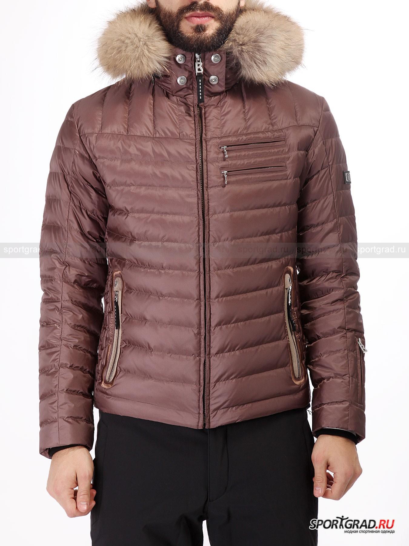 Куртка мужская горнолыжная Mert-D BOGNERПуховики<br>Горнолыжная куртка Mert-D от известного немецкого бренда Bogner примечательна тем, что не выглядит сугубо спортивно и вполне может составить компанию не только горнолыжным же брюкам, но и обычным джинсам или штанам для города. Выгодное приобретение, которое прослужит вам долгие годы благодаря безупречному качеству.<br><br>Куртка утеплена натуральным пухом с примесью пера, который обеспечивает превосходную защиту от холода. <br><br>Особенности модели:<br>- влагозашита 20000 мм водяного столба;<br>- воздухопроницаемость 20000 г/м2/24ч;<br>- фронтальная молния по всей длине;<br> - вшитая вставка черного цвета по центру, снабженная еще одной молнией;<br>- высокий воротник;<br>- отстегивающийся капюшон с утяжкой, который можно дополнить мехом (приобретается отдельно);<br>- два горизонтальных кармана, два вертикальных и один на рукаве;<br>- два внутренних кармана: один сетчатый накладной, другой на молнии;<br>- трикотажные манжеты;<br>- снегозащитная «юбка»;<br>- утяжка по низу изнутри;<br>- надпись Bogner на капюшоне и фирменная нашивка на плече.<br><br>Пол: Мужской<br>Возраст: Взрослый<br>Тип: Пуховики<br>Рекомендации по уходу: Деликатная стирка при 30 С, не отбеливать, гладить при температуре до 110 С; щадящая влажная чистка; можно сушить в стиральной машине.<br>Состав: Материал верха 100% полиамид; подкладка 1)64% полиэстер, 36% полиамид 2)100% полиамид; наполнитель 80% пух, 20% перо