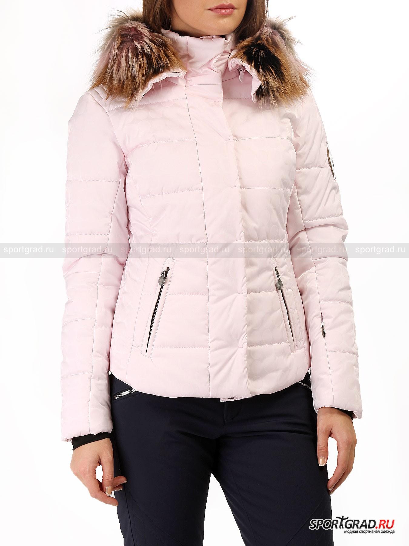 Куртка женская горнолыжная Atmosphere SPORTALMКуртки<br>Горнолыжные коллекции от известного австрийского бренда Sportalm – это сочетание изысканного оригинального дизайна, великолепного качества и комфорта в носке. Вот уже почти полвека Sportalm – неотъемлемая часть истории лыжной моды в Европе.<br><br>В бледно-розовой куртке с принтом-«горохом» по всей поверхности Atmosphere Sportalm вы будете прекрасны и нежны, как рассвет в горах. Модель имеет приталенный крой, она легкая  очень теплая, а также снабжена качественной фурнитурой и эффектными деталями отделки. Роскошная вещь для стильных женщин.<br><br>Особенности модели:<br>- водоустойчивость 10000 мм водяного столба;<br>- вшитые отражатели Recco, позволяющие ускорить нахождение человека в зоне схода лавины;<br>- снегозащитная юбка;<br>- фронтальная молния с двумя бегунками;<br>- кнопки поверх молнии;<br>- съемный капюшон с отстегивающейся опушкой из натурального меха;<br>- два кармана спереди и  один на рукаве;<br>- три внутренних кармана;<br>- аппликация из страз на спине;<br>- эластичные манжеты.<br><br>Пол: Женский<br>Возраст: Взрослый<br>Тип: Куртки<br>Рекомендации по уходу: Стирка при 30 С; нельзя гладить, отбеливать, подвергать химической чистке, выжимать и сушить в стиральной машине<br>Состав: Материал верха: 1)52% полиамид, 40% полиуретан, 8% эластан 2)77% полиамид, 23% полиуретан; подкладка 97% полиэстер, 3% эластан; наполнитель 100% полиэстер
