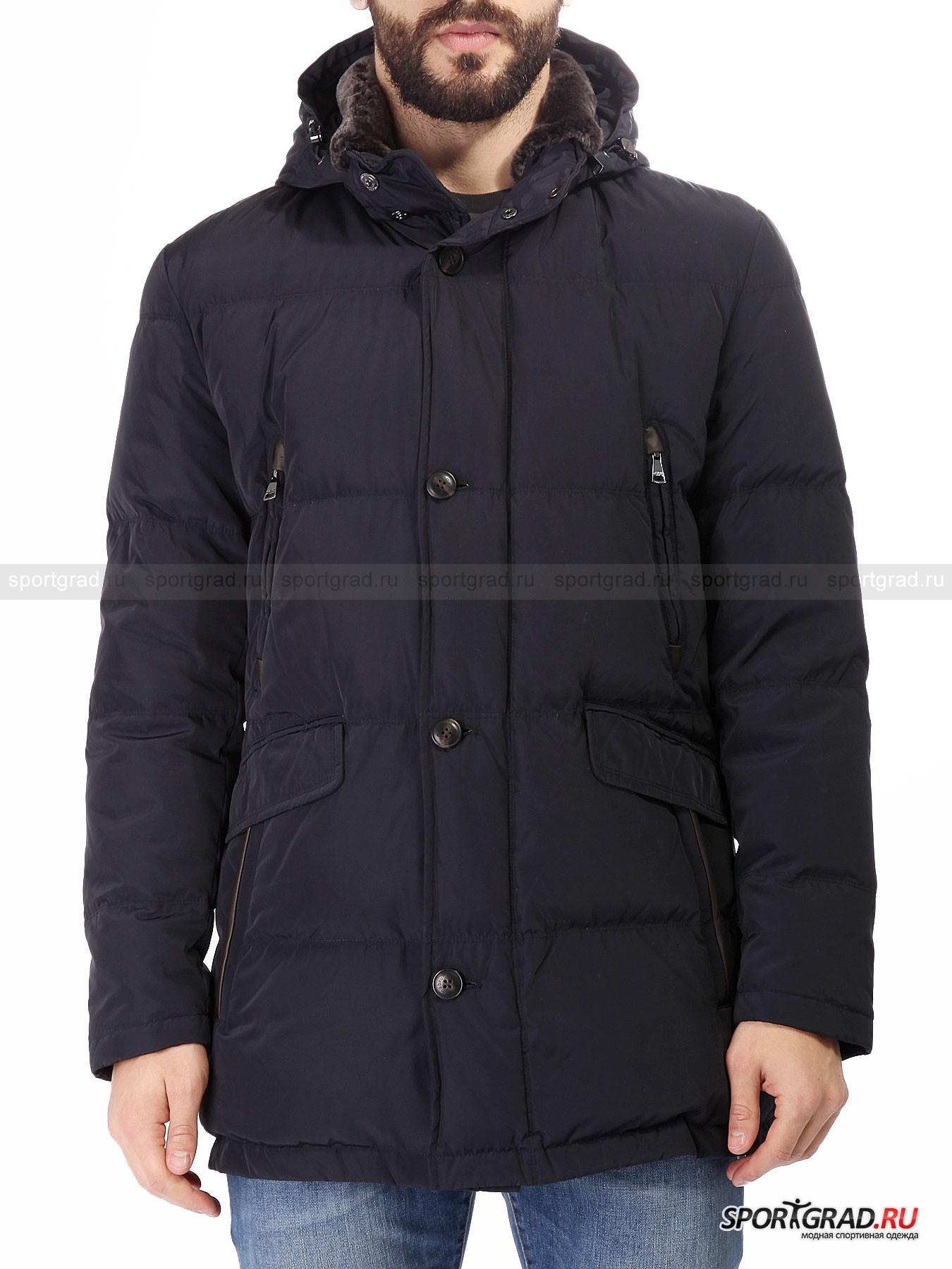 Мужская куртка MABRUN DiaseoКуртки<br>Mabrun – итальянский бренд, берущий свое начало в 30-х годах прошлого века. Основной специализацией компании является производство стильной и качественной верхней одежды.<br><br>Гениальная по своему дизайну мужская куртка Diaseo обладает обилием интересных деталей. Отстегивающийся утепленный капюшон сочетается с отделкой ворота натуральным мехом барана. Меховая отделка также по мере надобности отстегивается. Использование высокотехнологичного материала изготовления обеспечивает одежду свойством долговечности, а ткань износостойкости. Использованный в качестве утеплителя натуральный наполнитель надежно защищен от проступания наружу. Все карманы куртки утеплены. Надежная верхняя одежда для холодного времени года, которая при этом отличается утонченным силуэтом и аккуратным внешним видом.<br><br>•Удобный капюшон с утяжками<br>•Реверсная фронтальная молния<br>•Дублированная фронтальная застежка на пуговицах<br>•Двойные поясные карманы<br>•2 нагрудных и 2 внутренних кармана на молнии<br><br>Пол: Мужской<br>Возраст: Взрослый<br>Тип: Куртки<br>Рекомендации по уходу: Деликатная стирка при 30С, не отбеливать, не сушить в барабане стиральной машины, гладить при температуре на выше 110С, химчистка запрещена.<br>Состав: 100% полиэстер, утеплитель – 90% пух/10% перо, отделка – 100% бараний мех.