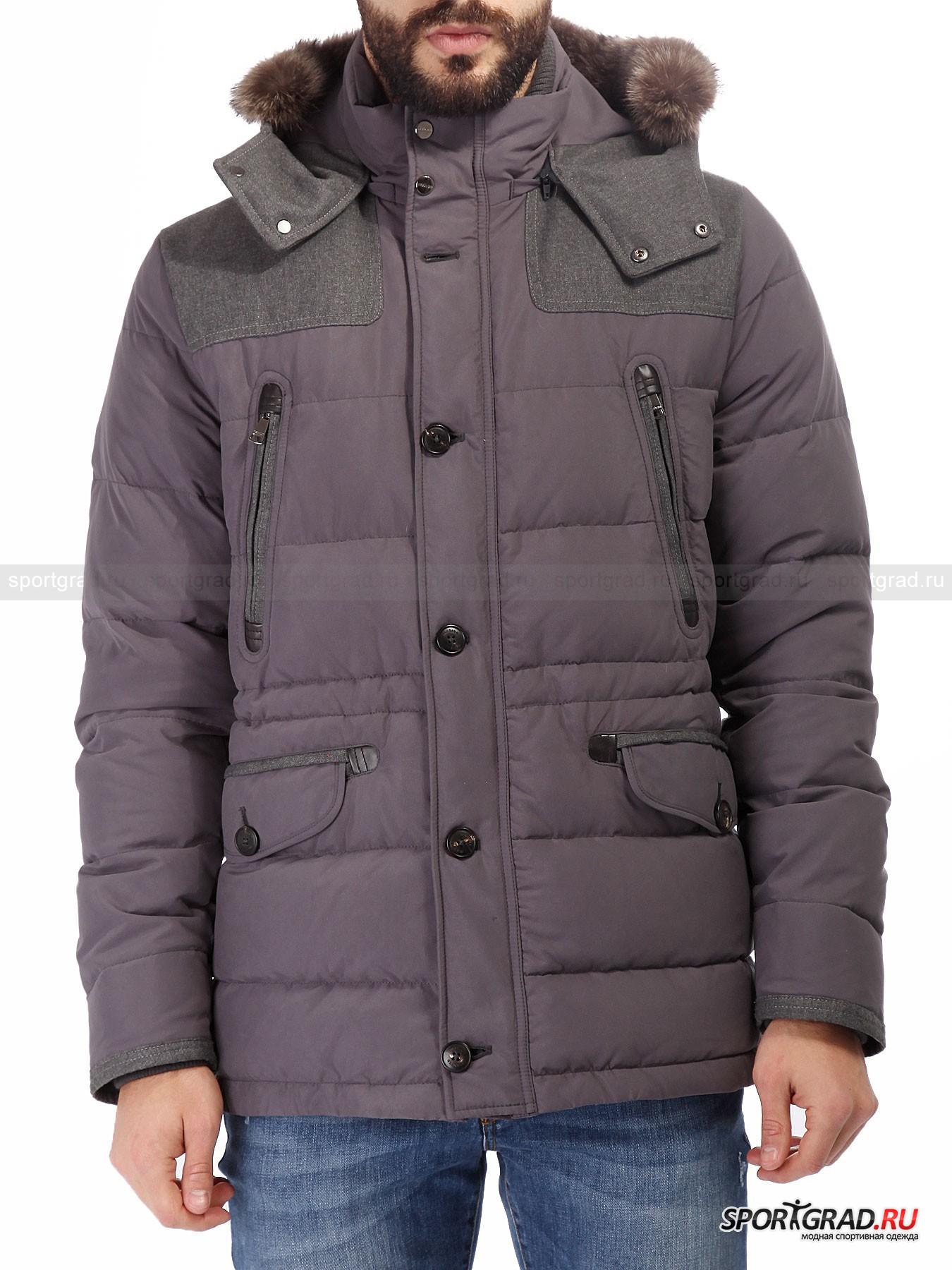 Мужская куртка MABRUN DigioКуртки<br>Mabrun – итальянский бренд, берущий свое начало в 30-х годах прошлого века. Основной специализацией компании является производство стильной и качественной верхней одежды.<br><br>Мужская куртка Digio изготовлена из качественного высокотехнологичного материала, который сохраняет внешний вид одежды неизменным в течение многих лет. Ключевой особенностью данной модели является отделка ворота отстегивающимся мехом. В качестве утеплителя был выбран натуральный наполнитель. Обилие интересных и практичных деталей, а также привлекательный внешний вид и дизайн куртки делает ее идеальной для повседневной носки в условиях мегаполиса.<br><br>•Удобный отстегивающийся капюшон с утяжками<br>•Реверсная фронтальная молния<br>•Дублированная фронтальная застежка на пуговицах<br>•Поясные карманы на пуговицах<br>•Нагрудные кармана на молнии<br>•3 внутренних кармана<br>•Приталивающая система<br><br>Пол: Мужской<br>Возраст: Взрослый<br>Тип: Куртки<br>Рекомендации по уходу: Деликатная стирка при 30С, не отбеливать, не сушить в барабане стиральной машины, гладить при температуре на выше 110С, химчистка запрещена.<br>Состав: 100% полиэстер, утеплитель – 90% пух/10% перо.