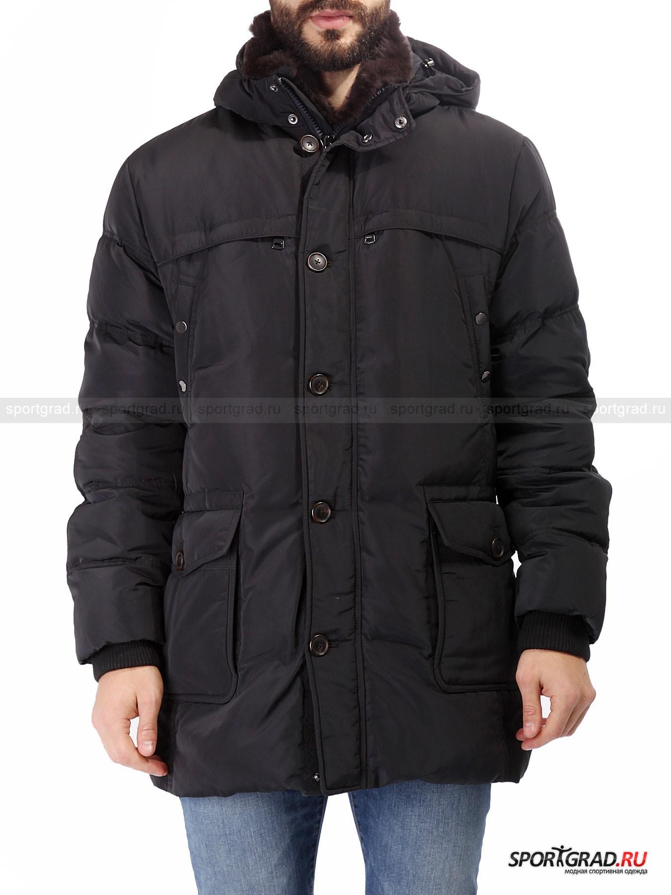 Мужская куртка MABRUN DenazioКуртки<br>Mabrun – итальянский бренд, берущий свое начало в 30-х годах прошлого века. Основной специализацией компании является производство стильной и качественной верхней одежды.<br><br>Представленная мужская зимняя куртка Denazio – настоящий мультипокет. Такого большого количества внешних, внутренних и скрытых карманов очень трудно найти на аналогичных предметах верхней одежды. Модель изготовлена из прочного синтетического материала, а в качестве утеплителя использованы пух и перо. Элегантный внешний вид – ключевая особенность данной куртки, которая дополняется изысканной и практичной отделкой ворота натуральным мехом. <br><br>•Съемный утепленный капюшон с утяжками<br>•Съемная меховая отделка ворота<br>•Фронтальная молния с системой реверса<br>•Дублирующий фронтальную молнию ряд пуговиц<br>•2 двойных поясных кармана, 4 нагрудных <br>•3 внутренних кармана<br>•Манжеты рукавов оснащены дублирующим слоем на запястье<br><br>Пол: Мужской<br>Возраст: Взрослый<br>Тип: Куртки<br>Рекомендации по уходу: Деликатная стирка при 30С, не отбеливать, не сушить в барабане стиральной машины, гладить при температуре не выше 110С, химчистка разрешена.<br>Состав: 100% полиэстер, утеплитель – 50% пух/50% перо, отделка капюшона – 100% натуральный мех.
