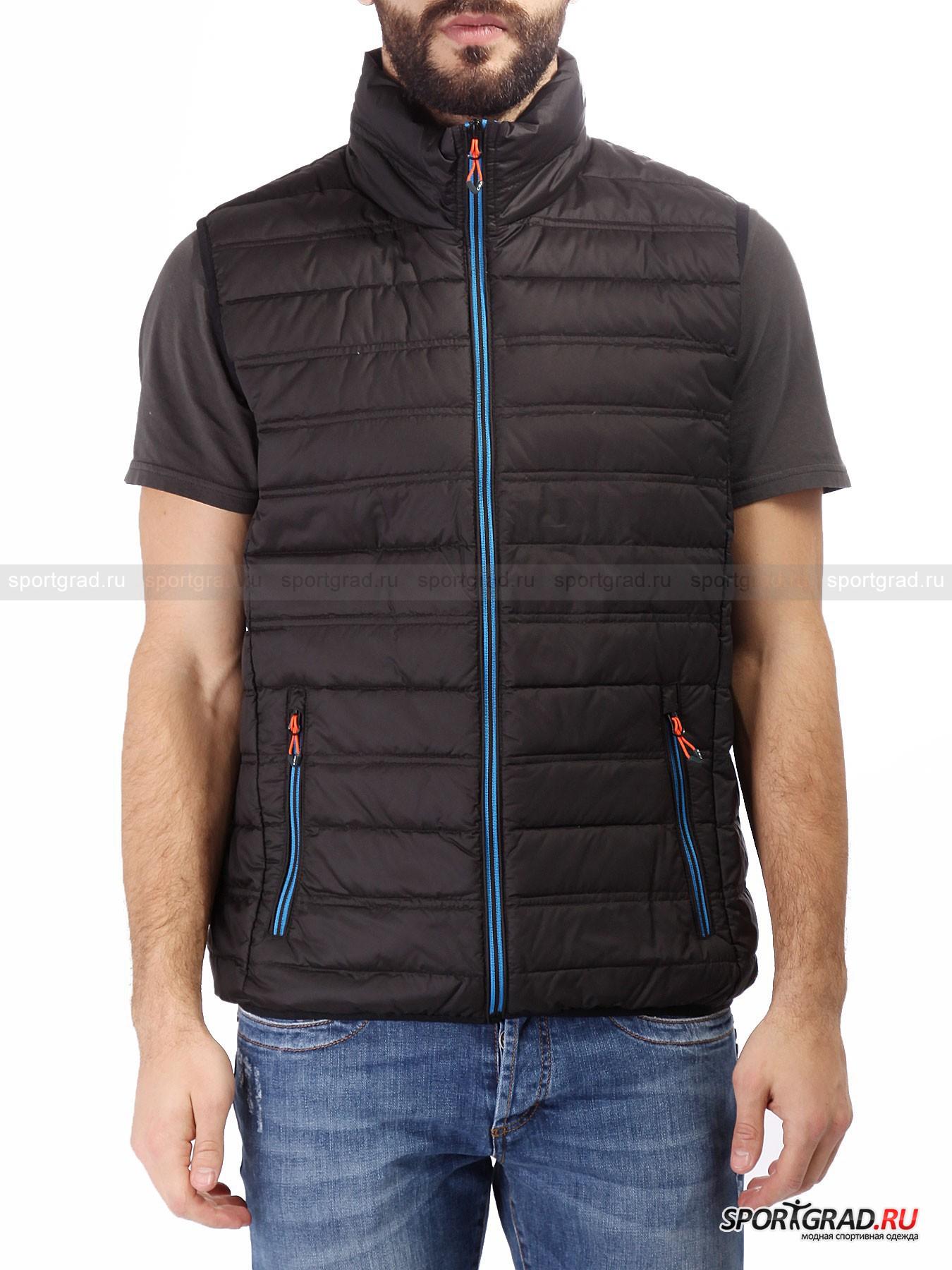 Мужской жилет CMP Ultra Light DownЖилеты<br>Итальянский бренд CMP занимается производством достаточно универсальной одежды, которая одинаково подходит, как для загородного отдыха, так и для повседневной носки.<br><br>Мужской жилет Ultra Light Down отличается легким весом и приятным на ощупь материалом изготовления. Этот предмет гардероба подходит для периода демисезонья и обладает тонким слоем натурального утеплителя. В качестве защиты пуха и пера выступает технология DuPont Teflon, которая препятствует проникновению вовнутрь влаги и масляных веществ. В случае необходимости данная модель компактно складывается в небольшой мешочек и убирается в сумку или рюкзак, чтобы не носить вещь в руках.<br><br>•Высокое горло<br>•Фронтальная молния с системой против заедания<br>•Два передних кармана на молнии<br>•Фирменный логотип компании<br><br>Пол: Мужской<br>Возраст: Взрослый<br>Тип: Жилеты<br>Рекомендации по уходу: Деликатная стирка при 30С, не отбеливать, сушить в барабане стиральной машины разрешено, не гладить, химчистка запрещена.<br>Состав: 100% нейлон, утеплитель – 90% пух/10% перо.