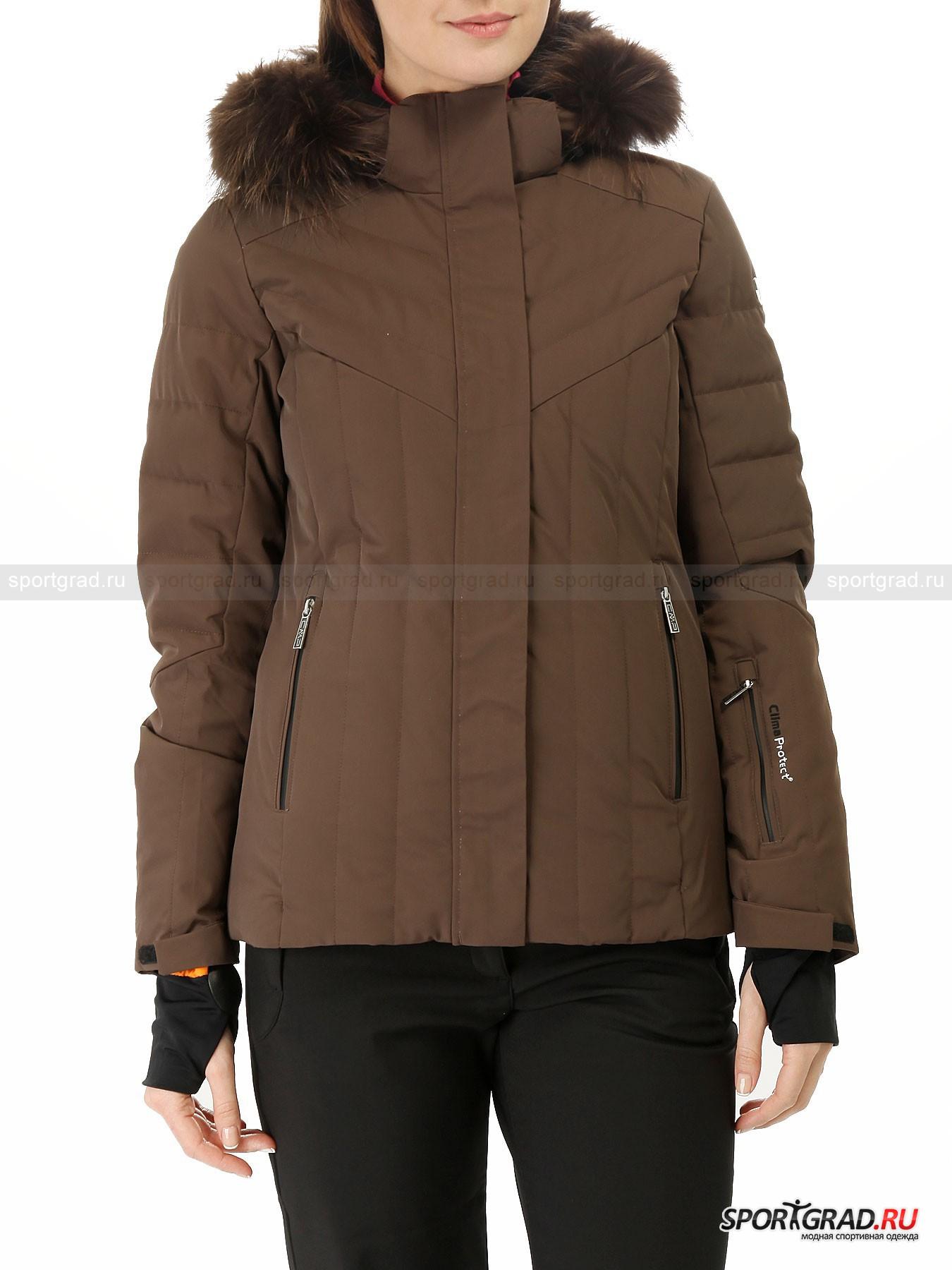 Куртка женская горнолыжная Ski Jacket CMPКуртки<br>Стильная горнолыжная куртка Ski Jacket CMP - лаконичная модель без лишних деталей для любителей минимализма. Она наполнена натуральным пухом, который прекрасно сохраняет тепло, не утяжеляя вещь, и сшита из суперэластичной ткани, позволяющей двигаться так свободно, как вам будет угодно. Между тканями есть специальный термослой, защищающий от порывов ветра и осадков. Кроме того, эта технология обеспечивает высокую паропроницаемость и своевременный отвод влаги от тела.<br><br><br>Особенности модели:<br>- влагозащита 8000 мм водяного столба;<br>- воздухопроницаемость 5000 г/кв.м/24ч;<br>- большой съемный капюшон, дополненный отделкой из натурального меха енота, которую также можно отстегнуть при желании;<br>- фронтальная молния по всей длине, прикрытая планкой на липучках;<br>- внутри один сетчатый накладной карман и один на молнии, а также отверстие для наушников;<br>- «юбка» для защиты от снега;<br>- утяжка по низу куртки;<br>- внутренние эластичные манжеты с прорезями для больших пальцев;<br>- два внешних кармана на молнии;<br>- карман на левом рукаве;<br>- объем манжет регулируется липучками;<br>- высокий воротник с флисовой подкладкой изнутри;<br>- фирменная нашивка на плече.<br><br>Пол: Женский<br>Возраст: Взрослый<br>Тип: Куртки<br>Рекомендации по уходу: стирка при температуре до 30 С; нельзя отбеливать, гладить; щадящая химическая чистка; можно сушить в стиральной машине при низкой температуре<br>Состав: Материал верха 85% полиамид, 15% эластан; подкладка 100% полиэстер; наполнитель 90% пух, 10% перо