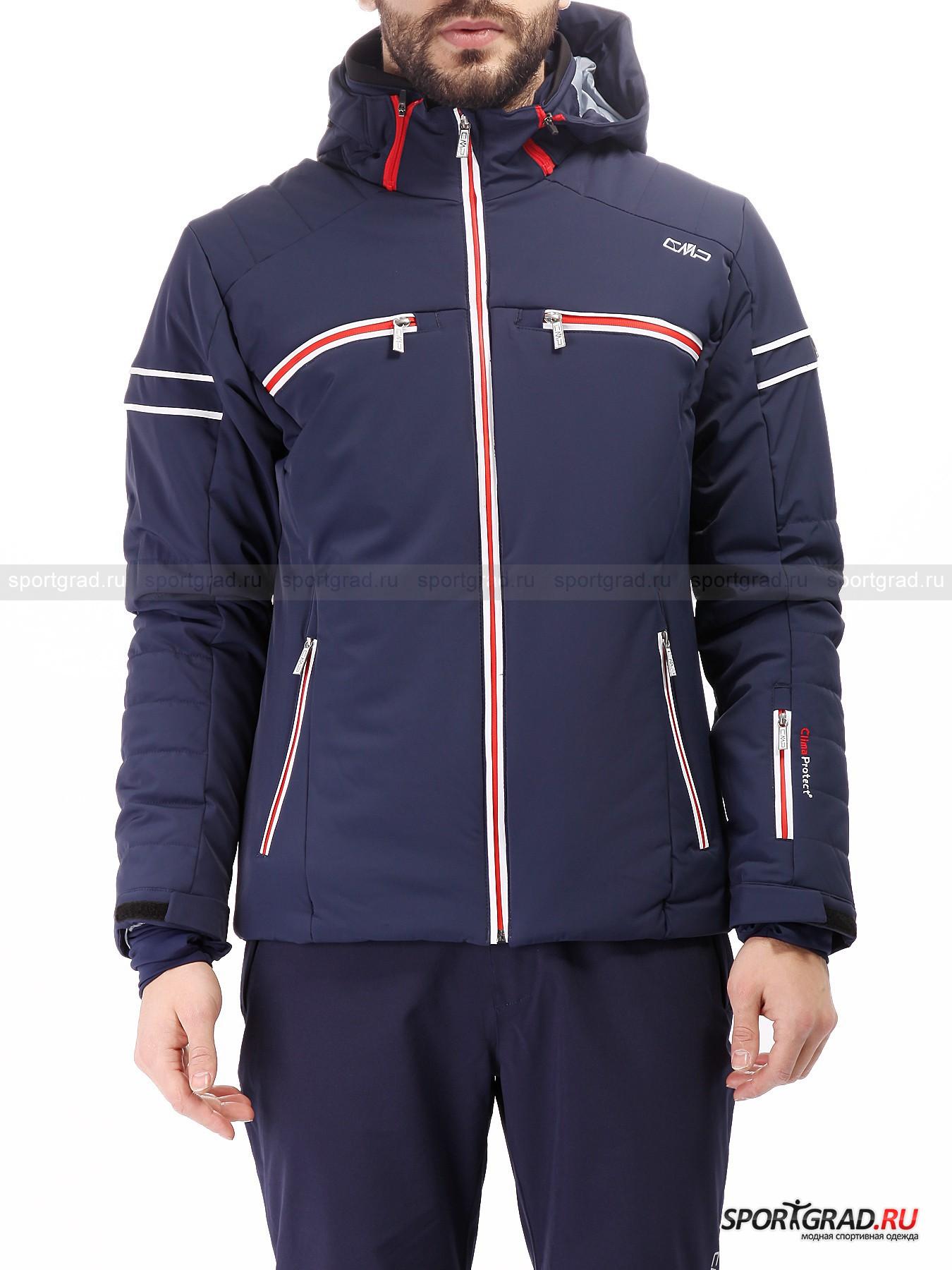 Куртка мужская горнолыжная Ski Jacket CMPКуртки<br>Горнолыжная одежда от итальянской компании CMP Campagnolo – отличный выбор и для новичков, и для завсегдатаев горных курортов. И тем, и другим непременно придется по душе лаконичный стильный дизайн, модные цвета, функциональные ткани и потрясающее удобство спортивной экипировки марки.<br><br>Мужская куртка Ski Jacket, представленная на этой странице, демонстрирует великолепное качество. Она сделана из эластичного материала, который превосходно тянется во всех направлениях, обеспечивая полную свободу движений. Технология ClimaProtect гарантирует защиту от осадков и ветра и в то же время отличную воздухопроницаемость.<br><br>Особенности модели:<br>- влагозащита 8000 мм водяного столба;<br>- воздухопроницаемость 5000 г/кв.м/24ч;<br>- внутренние эластичные манжеты с отверстиями для больших пальцев;<br>- большой съемный капюшон с козырьком;<br>- фронтальная молния по всей длине;<br>- внутри сетчатый накладной карман и еще один на молнии, а также отверстие для наушников;<br>- «юбка» для защиты от снега;<br>- утяжка по низу куртки;<br>- четыре внешних кармана на молнии;<br>- карман на левом рукаве;<br>- объем манжет регулируется липучками;<br>- фирменная нашивка на плече.<br><br>Пол: Мужской<br>Возраст: Взрослый<br>Тип: Куртки<br>Рекомендации по уходу: деликатная стирка в теплой воде до 30 С; не отбеливать; не гладить; влажная чистка; можно сушить в стиральной машине<br>Состав: 85% полиамид, 15% эластан; наполнитель 100% полиэстер