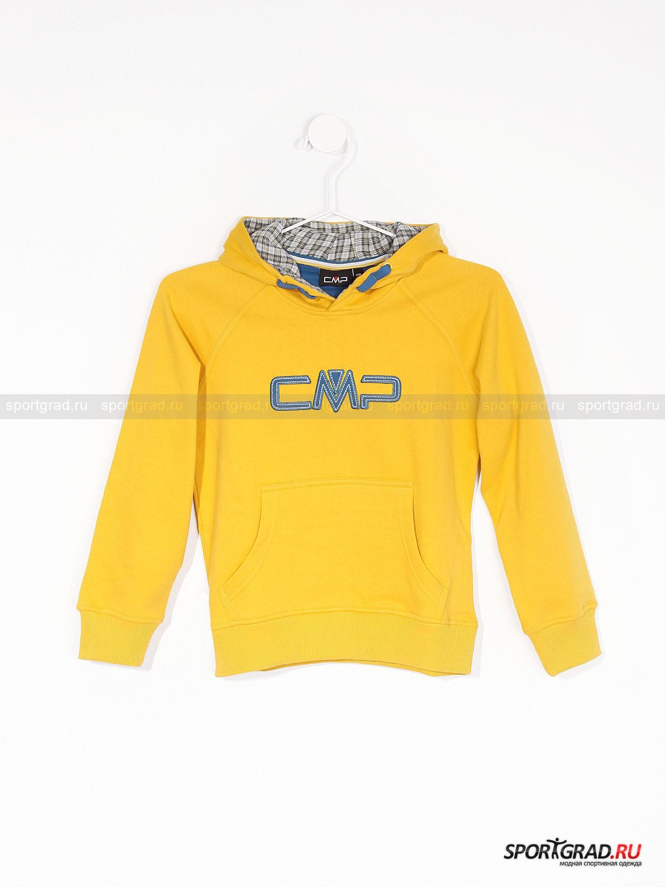 Толстовка для мальчиков CMPТолстовки<br>Красивая и качественная толстовка-худи от CMP – отличный повседневный выбор для маленьких модников. Такая толстовка универсальна: летом ее можно использовать в качестве верхней одежды, а зимой она заменит свитер. <br><br>Материал, из которого сделана эта вещь, потрясающе мягкий и приятный на ощупь. Модель довольно теплая, она снабжена мягкой пушистой подкладкой.<br><br>Другие особенности:<br>- капюшон с клетчатой внутренней стороной;<br>- один карман с двумя отверстиями для рук;<br>- большой логотип марки;<br>- трикотажный пояс и манжеты;<br>- свободный крой.<br><br>Возраст: Детский<br>Тип: Толстовки<br>Рекомендации по уходу: деликатная стирка в теплой воде до 40 С; не отбеливать; гладить слегка нагретым утюгом (температура до 110 C); разрешена химическая чистка влажным способом; нельзя выжимать и сушить в стиральной машине<br>Состав: 80% хлопок, 20% полиэстер