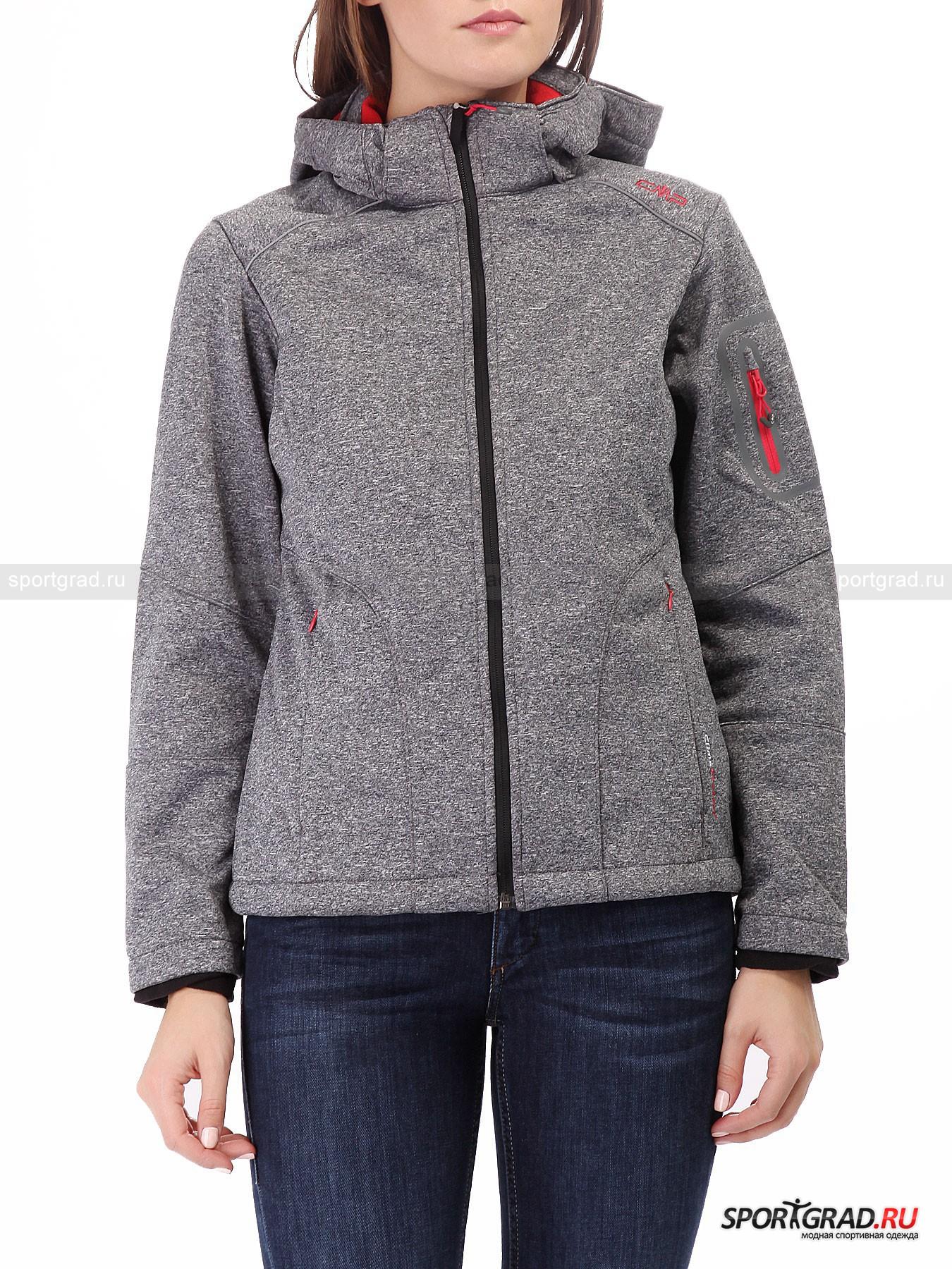 Куртка женская Softshell Jacket CAMPAGNOLOКуртки<br>Функциональная куртка Softshell Jacket CMP создана для защиты от неблагоприятных погодных условий, таких как осадки и сильный ветер. Специальный термослой, нанесенный между тканями, из которых изготовлено изделие, укрывает от непогоды и гарантирует высокую проницаемость, что обеспечивает максимальный комфорт и хорошее самочувствие при любых занятиях на открытом воздухе. Кроме того, эта куртка просто очень стильная и удобная.<br><br>Особенности модели:<br>- внутри флисовая подкладка;<br>- отстегивающийся капюшон с утяжками;<br>- воротник-стойка;<br>- молния по всей длине;<br>- светоотражающие элементы;<br>- два кармана на молниях;<br>- утяжка по низу изнутри;<br>- карман на рукаве;<br>- петля для подвешивания.<br><br>Пол: Женский<br>Возраст: Взрослый<br>Тип: Куртки<br>Рекомендации по уходу: деликатная стирка при температуре до 40 С; влажная химическая чистка: нельзя отбеливать, гладить; можно сушить в стиральной машине при низкой температуре<br>Состав: 100% полиэстер