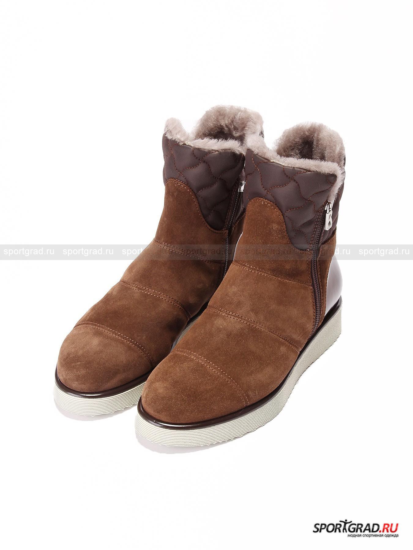 Женские ботинки BOGNER Oslo 1 CБотинки<br>Знаменитый немецкий бренд Bogner производит не только качественную и практичную одежду для занятия горнолыжным спортом. Есть в линейке бренда и целая линия обувь для повседневной носки в условиях города.<br><br>Невероятно уютные женские ботинки Oslo 1 C отличаются аккуратным внешним видом и утонченным силуэтом, что является большой редкостью для зимней обуви. Но главной особенностью данной модели стоит считать высокий уровень сохранения тепла. Внутренняя отделка натуральным мехом спасет вас даже в самую холодную погоду. Выполненный из сочетания замши, кожи и синтетики верх посажен на высокую и надежную резиновую подошву.<br><br>•Высокая колодка<br>•Застежка на молнии по бокам<br>•Съемная амортизирующая стелька<br>•Фирменный логотип компании<br>•В комплект входит специальный мешок для обуви<br><br>Пол: Женский<br>Возраст: Взрослый<br>Тип: Ботинки<br>Состав: Замша, кожа, синтетика, подошва – 100% резина.