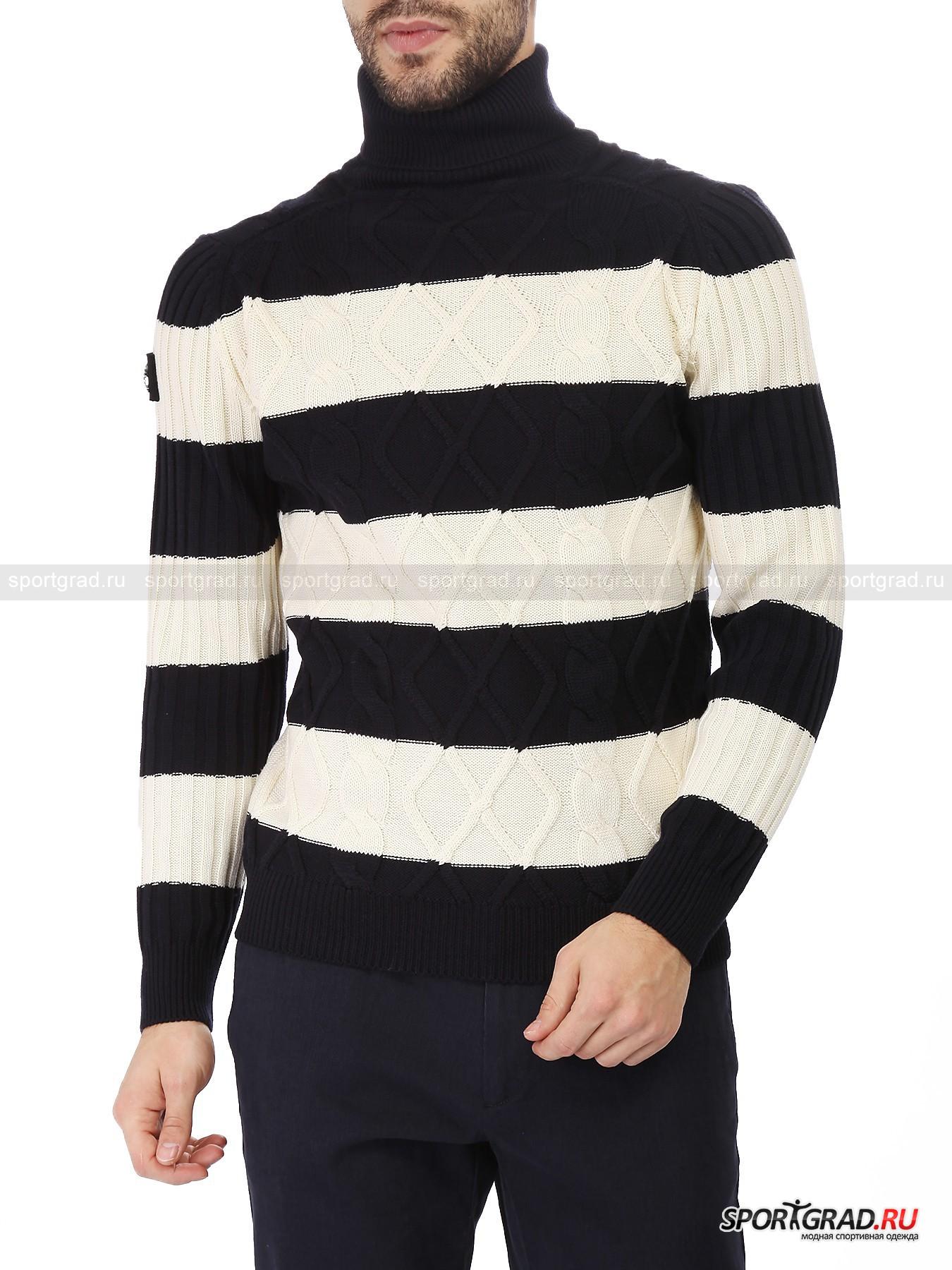 Свитер мужской из шерсти MARINA YACHTINGДжемперы, Свитеры, Пуловеры<br>Вязаные вещи с объемными узорами – настоящий хит этой зимы и один из главных модных трендов и в одежде, и в аксессуарах. Так что такой свитер, как модель от Marina Yachting, представленная на этой странице, непременно должен быть в гардеробе каждого стильного жителя  мегаполиса.<br><br>Свитер сделан из натуральной шерсти, рисунок вязки имитирует изготовленную вручную вещь. Модель чуть-чуть заужена книзу, благодаря чему облегает тело, даря комфорт и уют. Традиционное для Marina Yachting «полосатое» оформление в реальности имеет немного другой оттенок, нежели на фото: здесь соединяется светло-бежевый и темно-синий цвета.<br><br>Особенности модели:<br>- высокий воротник;<br>- рукава связаны «резинкой»;<br>- выпуклый узор;<br>- фирменная нашивка на плече.<br><br>Пол: Мужской<br>Возраст: Взрослый<br>Тип: Джемперы, Свитеры, Пуловеры<br>Рекомендации по уходу: ручная стирка; не отбеливать; гладить при температуре до 110 С; щадящая химчистка; сушить в горизонталньном положении<br>Состав: 100% шерсть