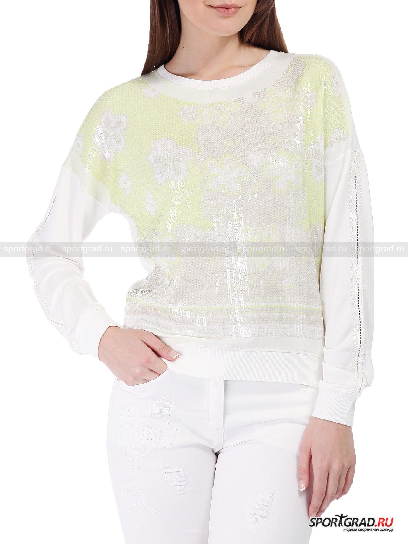 Толстовка женская Noelia SPORTALMДжемперы, Свитеры, Пуловеры<br>Дизайнеры бренда Sportalm способны превратить самые простые и привычные вещи в уникальные и изысканные,  и представленная на этой странице толстовка Noelia тому подтверждение. Она скроена по типу стандартного свитшота, однако модель выделяет необычный материал и впечатляющий декор. <br><br>Ткань, из которой изготовлена толстовка, довольно тонкая, очень мягкая и струящаяся – надевать эту вещь одно удовольствие. Фронтальная часть украшена цветочным принтом и прозрачными блестящими пайетками.<br><br>Пол: Женский<br>Возраст: Взрослый<br>Тип: Джемперы, Свитеры, Пуловеры<br>Рекомендации по уходу: стирка в теплой воде до 30 С; не отбеливать; гладить слегка нагретым утюгом (температура до 110 C); химическая чистка запрещена; нельзя сушить в стиральной машине<br>Состав: 45% вискоза, 45% модал, 10% эластан