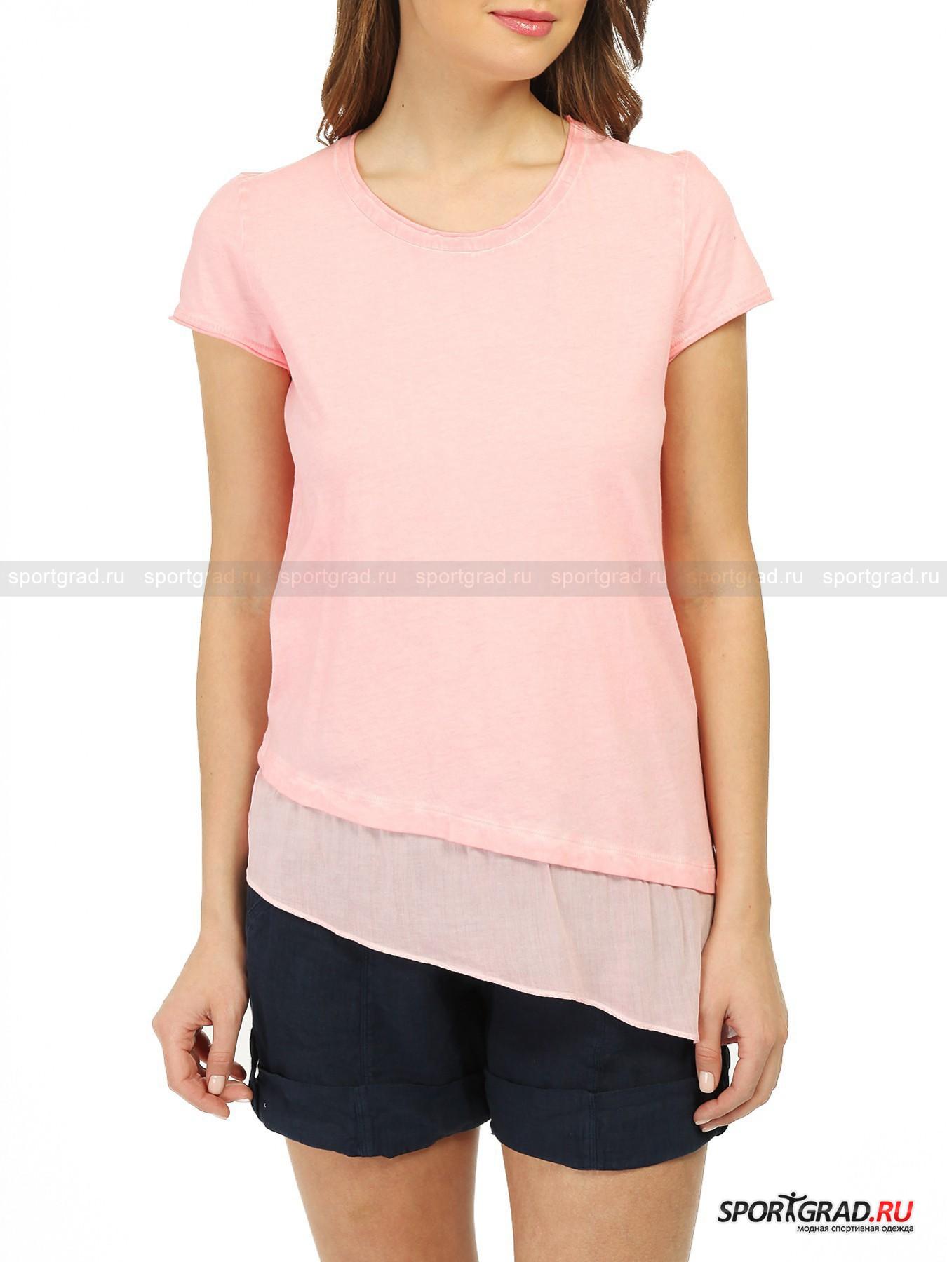 Футболка женская T-shirt DEHAФутболки<br>Нежно-розовая футболка прямого покроя T-shirt Deha – очаровательная летняя модель, свежая и воздушная. Она сделана из высококачественного хлопкового полотна, обработанного таким образом, чтобы придать изделию слегка потертый, винтажный внешний вид, интересный неоднородный цвет и потрясающую мягкость.<br>Особенности модели:<br>- ассиметричный нижний край;<br>- внизу вставка из легкого полупрозрачного материала;<br>- небрежно обработанные края рукавов и выреза горловины.<br><br>Пол: Женский<br>Возраст: Взрослый<br>Тип: Футболки<br>Рекомендации по уходу: стирка в теплой воде до 30 С; не отбеливать; гладить слегка нагретым утюгом (температура до 110 C); химическая чистка сухим способом; нельзя выжимать и сушить в стиральной машине<br>Состав: 100% хлопок; 100% вискоза