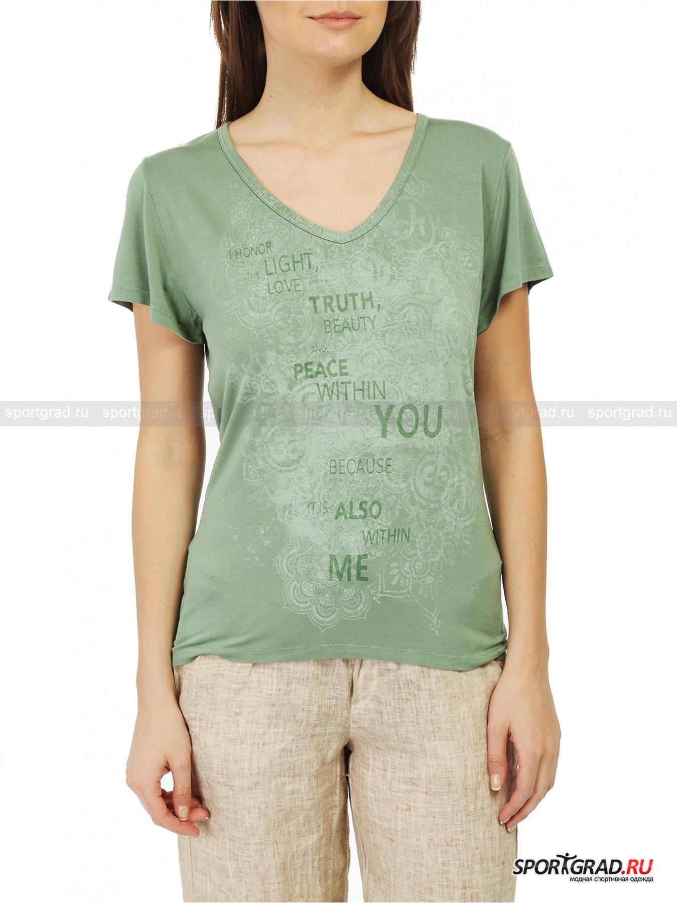 Футболка женская V-nek T-shirt DEHAФутболки<br>Восхитительная футболка V-neck T-shirt Deha идеальна не только для повседневной носки, но также для йоги или пилатеса. Модель выполнена из экологически чистого материала Lenzing Viscose, который отлично тянется во все стороны, не мнется, хорошо впитывает влагу и держит форму, а также оставляет ощущение легкой прохлады даже в жаркую погоду. Внешний вид также на высоте: самый модный цвет сезона, интересный принт, мотивирующая надпись, V-образный вырез. Сзади футболка длиннее, чем спереди, она мягко облегает тело, подчеркивая изгибы, но не обтягивая чрезмерно.<br><br>Пол: Женский<br>Возраст: Взрослый<br>Тип: Футболки<br>Рекомендации по уходу: стирка в теплой воде до 30 С; не отбеливать; гладить слегка нагретым утюгом (температура до 110 C); химическая чистка сухим способом; нельзя выжимать и сушить в стиральной машине<br>Состав: 90% вискоза, 10% эластан