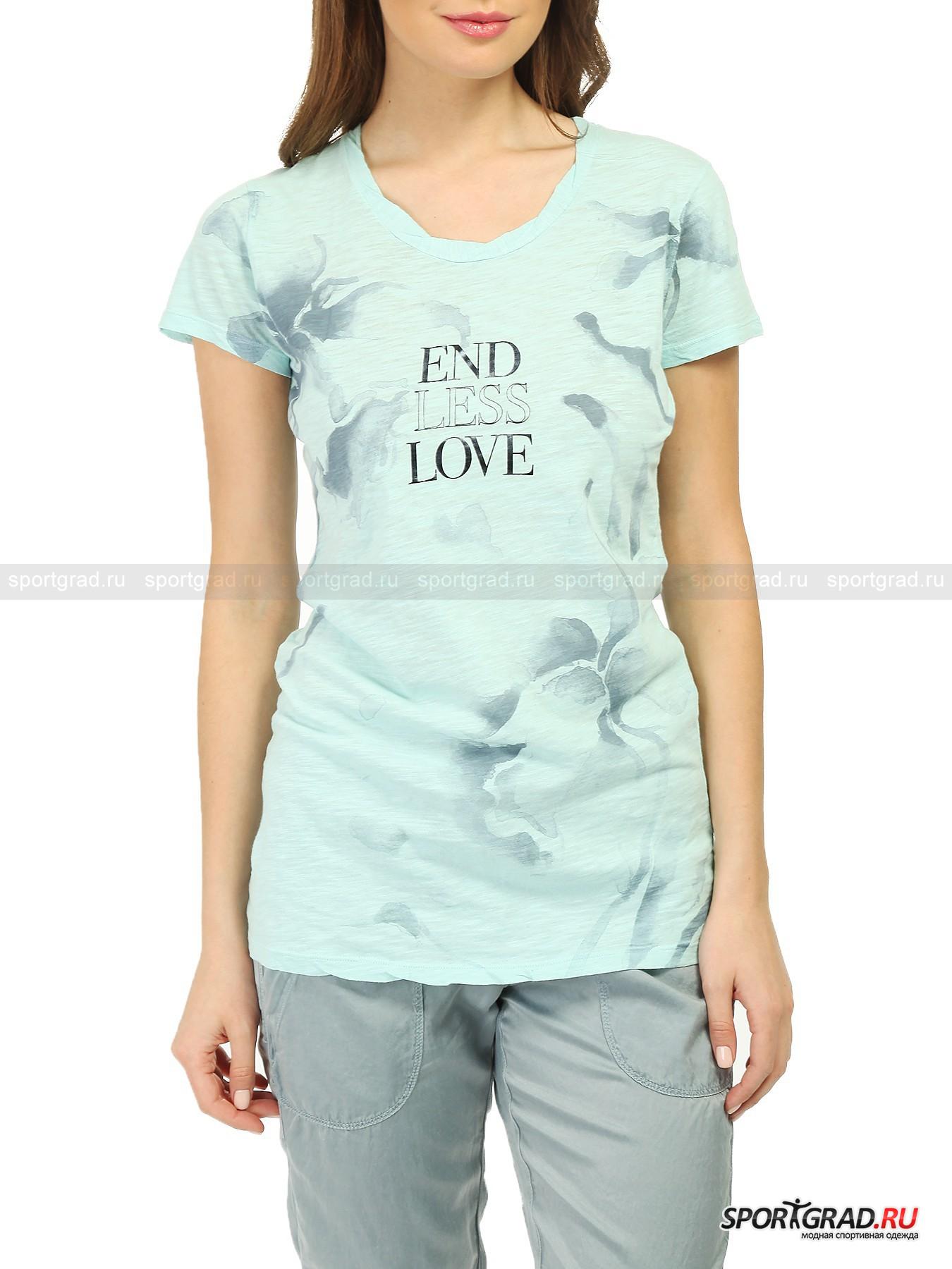 Футболка женская T-shirt DEHAФутболки<br>Легкая воздушная футболка T-shirt Deha изготовлена из нежнейшего хлопкового материала, который был подвергнут обработке по особой технологии, что придало ему интересную неоднородную, будто бы потертую структуру и фантастическую мягкость. В такой футболке вы точно не будете испытывать ни малейшего дискомфорта. <br><br>Внешний вид здесь также на высоте:  приятный цвет, акварельный принт и надпись на груди делают футболку отличным приобретением для летнего гардероба. Она имеет прямой крой и садится довольно свободно, что позволяет подчеркнуть достоинства и скрыть недостатки.<br><br>Пол: Женский<br>Возраст: Взрослый<br>Тип: Футболки<br>Рекомендации по уходу: стирка в теплой воде до 30 С; не отбеливать; гладить слегка нагретым утюгом (температура до 110 C); химическая чистка сухим способом; нельзя выжимать и сушить в стиральной машине<br>Состав: 100% хлопок