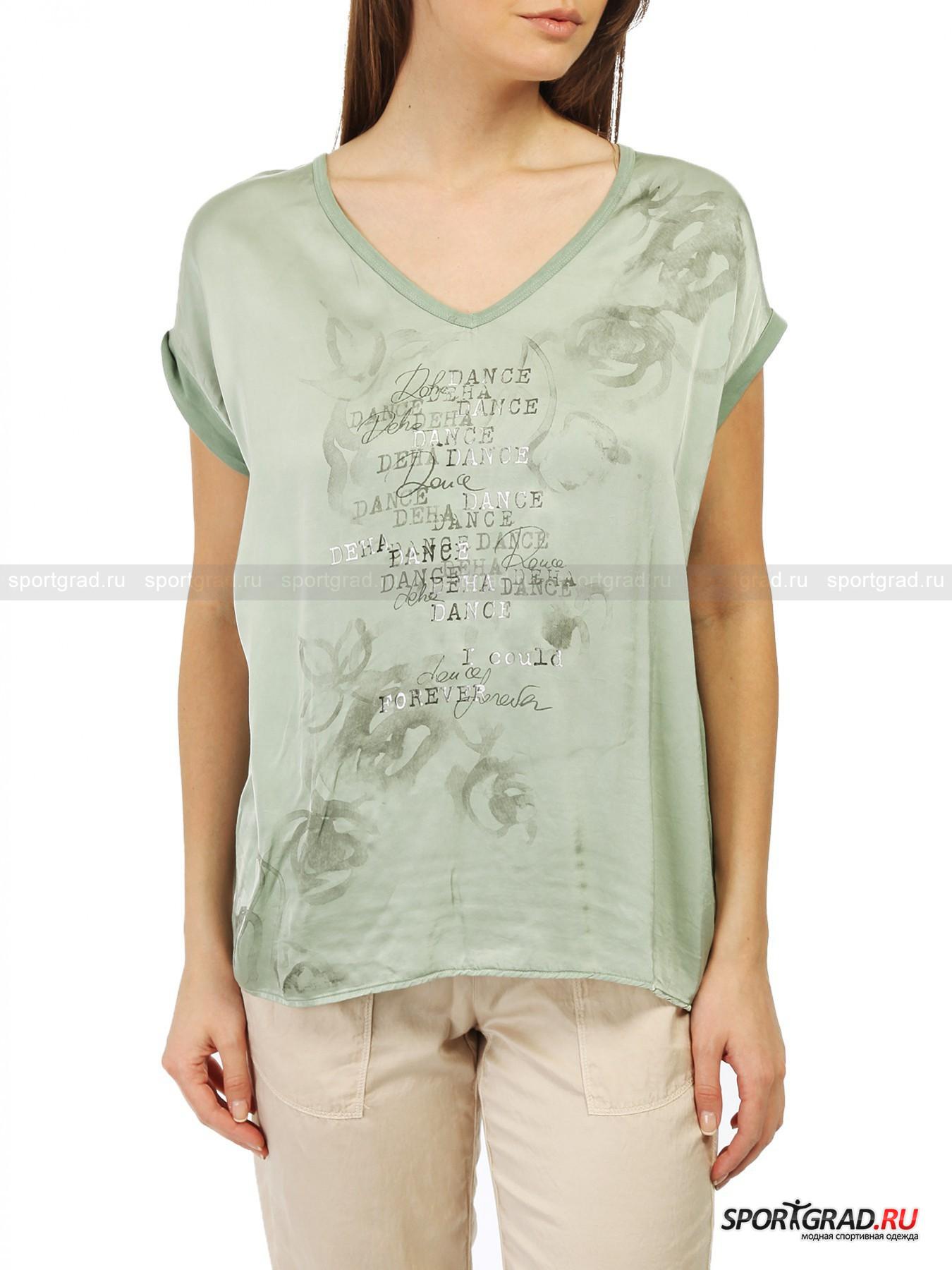 Футболка женская V-nek T-shirt DEHAФутболки<br>«Танцевальная» тема является ведущей почти в каждой коллекции итальянского бренда Deha, и это неудивительно, ведь создательницей компании была бывшая балерина. Дизайнеры марки любят свободные, воздушные фасоны и сочетание разных фактур. Все это воплотилось в футболке V-neck, которую вы видите на этой странице.<br><br>Здесь объединены два материала: хлопковая спинка и передняя часть из вискозы, гладкая на ощупь и обладающая легким атласным отблеском. Вещь садится свободно, глубокий V-образный вырез позволяет акцентировать внимание на груди<br><br>Пол: Женский<br>Возраст: Взрослый<br>Тип: Футболки<br>Рекомендации по уходу: стирка в теплой воде до 30 С; не отбеливать; гладить слегка нагретым утюгом (температура до 110 C); химическая чистка сухим способом; нельзя выжимать и сушить в стиральной машине<br>Состав: 100% хлопок; 100% вискоза