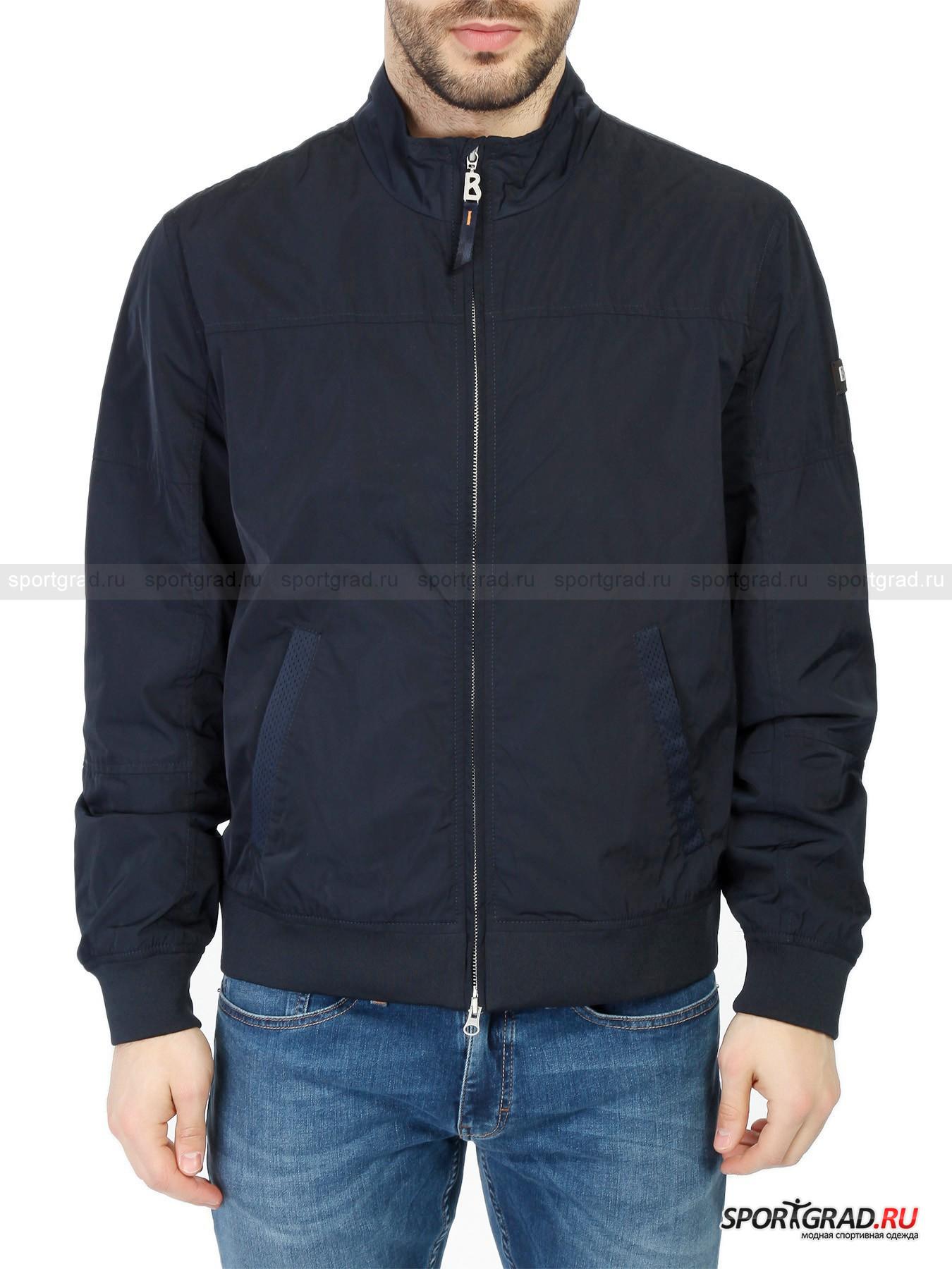 Ветровка мужская  BOGNER JEANSВетровки<br>Стильная куртка-ветровка от Bogner Jeans имеет два слоя: верхний материал, прочный, ветро- и водоустойчивый, обладающий красивым матовым отблеском дополнен подкладкой цвета «серый меланж», изготовленной преимущественно из хлопка. Это сочетание позволяет куртке защищать от непогоды, предоставляя полный комфорт. Внутри также имеется вставка из сетчатой ткани, обеспечивающая хорошую воздухопроницаемость, а значит препятствующая образованию пота.<br><br>Особенности модели:<br>- воротник-стойка;<br>- фронтальная молния с двумя бегунками;<br>- манжеты и пояс на резинке;<br>- два кармана снаружи и один на молнии внутри.<br><br>Пол: Мужской<br>Возраст: Взрослый<br>Тип: Ветровки<br>Рекомендации по уходу: стирка в теплой воде до 30 С; не отбеливать; не гладить; щадящая химическая чистка; нельзя выжимать и сушить в стиральной машине<br>Состав: Материал верха: 100% полиэстер; подкладка 65% хлопок, 35% полиэстер.