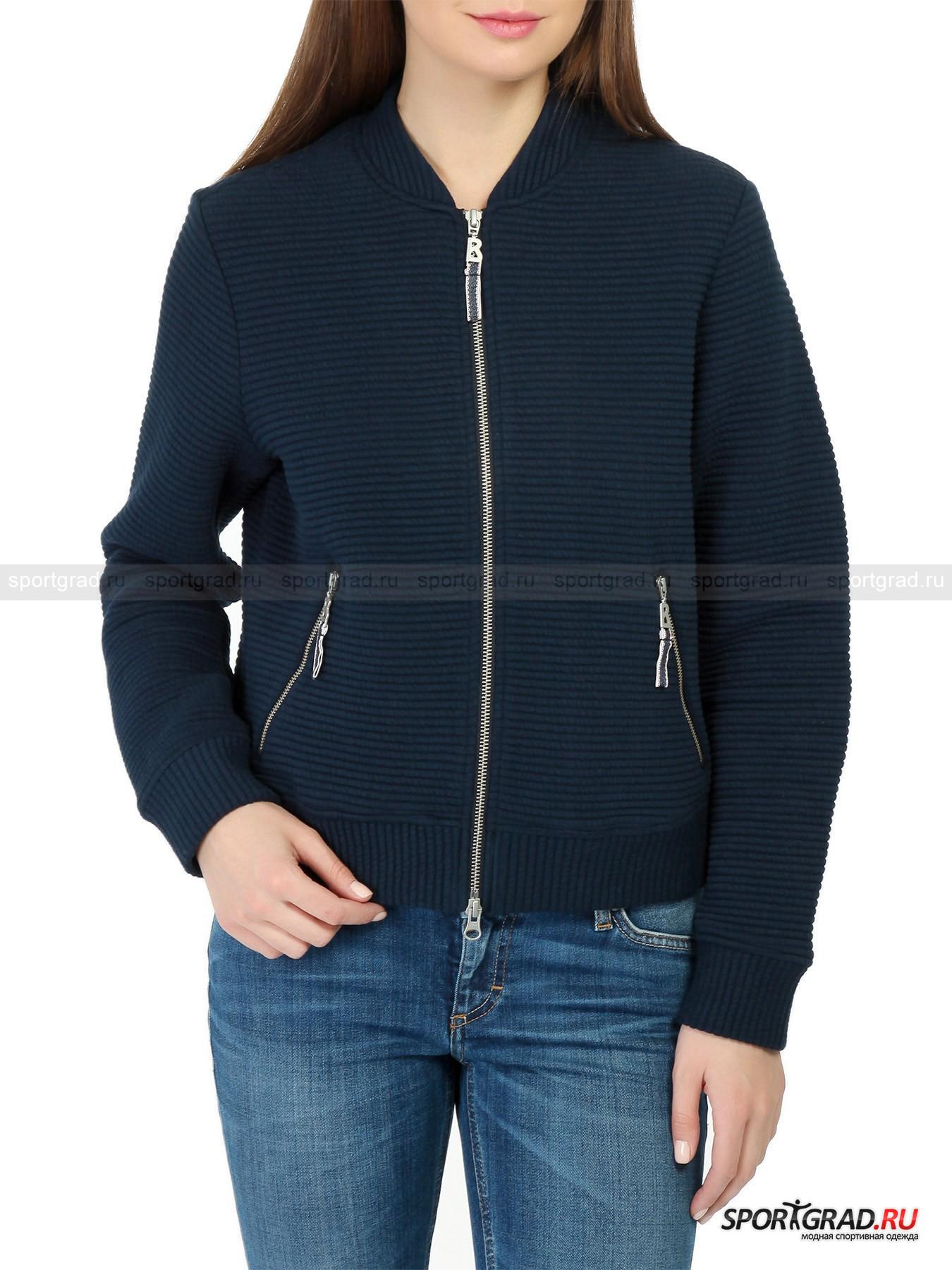 Толстовка женская Quilted Jersey BOGNER JEANSТолстовки<br>Удобная толстовка фасона «бомбер» Quilted Jersey Bogner Jeans выглядит невероятно привлекательно. Темно-синий цвет, который к лицу почти всем и сочетается с чем угодно, модный крой, фактурный материал, качественная фурнитура - такая вещь легко найдет себе место в гардеробе современной модницы.<br><br>Толстовка выполнена из плотного теплого текстиля с объемной поверхностью, снабжена двумя карманами и фронтальной молнией с двумя бегунками. Она садится довольно свободно, скрывая возможные лишние сантиметры в районе талии.<br><br>Пол: Женский<br>Возраст: Взрослый<br>Тип: Толстовки<br>Рекомендации по уходу: деликатная стирка до 30 С; не отбеливать; гладить при температуре до 110 С; химическая чистка запрещена; нельзя сушить в стиральной машине<br>Состав: 70% хлопок, 30% полиэстер