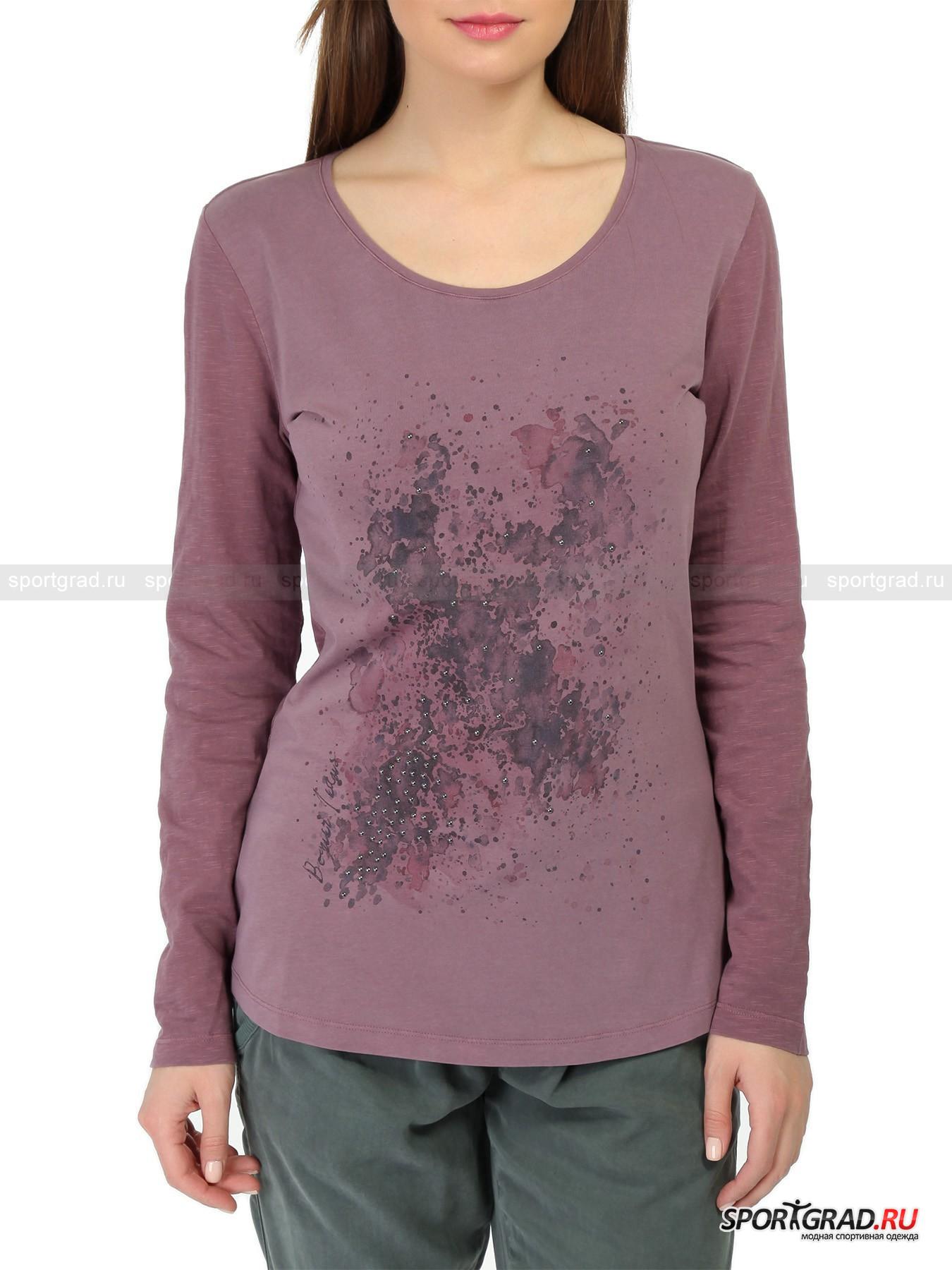 Лонгслив женский Logo T-shirt BOGNER JEANSДжемперы, Свитеры, Пуловеры<br>Прелестный лонгслив модного цвета «кашемировая роза» LogoT-shirt от Bogner Jeans изготовлен из хлопка с небольшим добавлением эластана, что позволяет ткани превосходно растягиваться во всех направлениях, обеспечивая свободу движений.  Материал был подвергнут особой обработке, что придало ему интересную неоднородную структуру и потрясающую мягкость.<br><br>Фронтальная часть изделия декорирована стильным абстрактным принтом и аппликацией из металлостраз. Маленькая нашивка-логотип Bogner Jeans подчеркивает принадлежность вещи к классу «премиум» и отличный вкус ее владелицы.<br><br>Пол: Женский<br>Возраст: Взрослый<br>Тип: Джемперы, Свитеры, Пуловеры<br>Рекомендации по уходу: ручная стирка; не отбеливать; гладить слегка нагретым утюгом (температура до 110 C); химическая чистка запрещена; нельзя выжимать и сушить в стиральной машине<br>Состав: 95% хлопок, 5% эластан